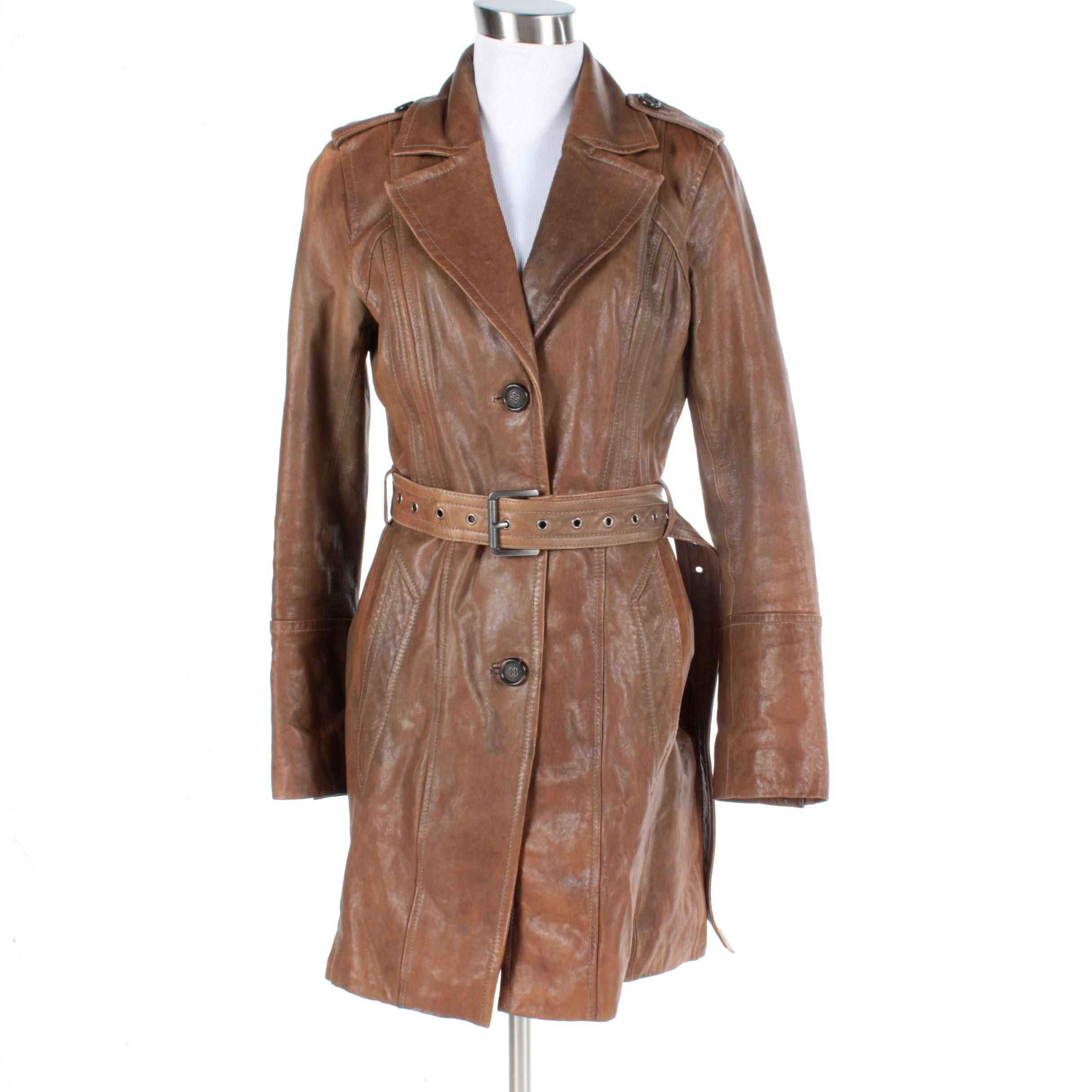 Women's Andrew Marc Brown Leather Coat