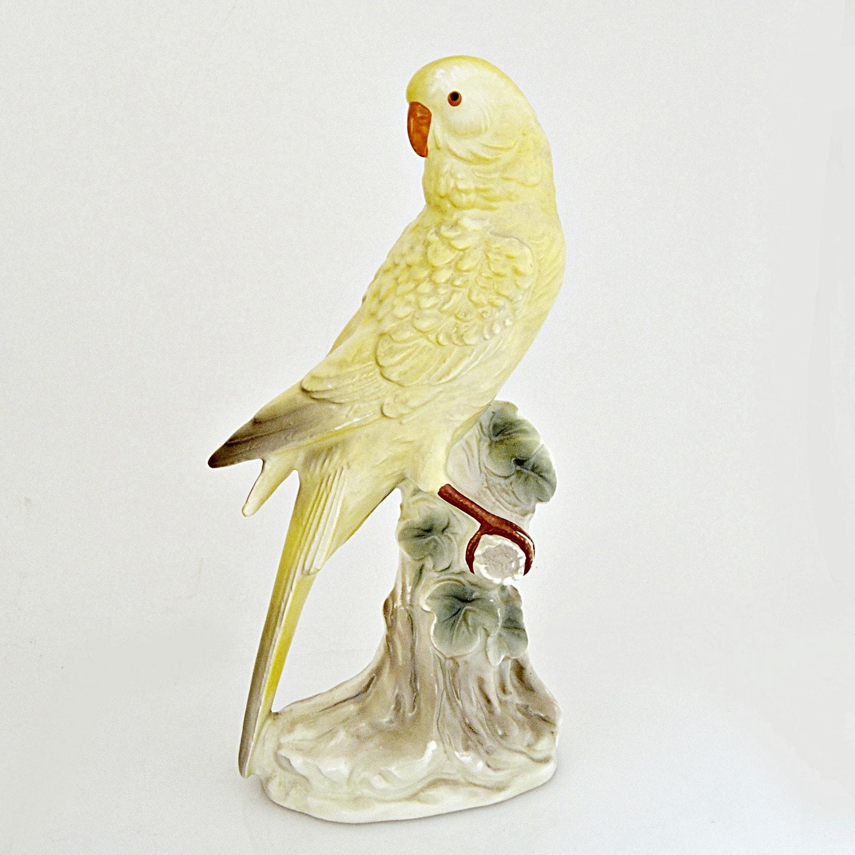 Vintage Yellow Parakeet Porcelain Figurine