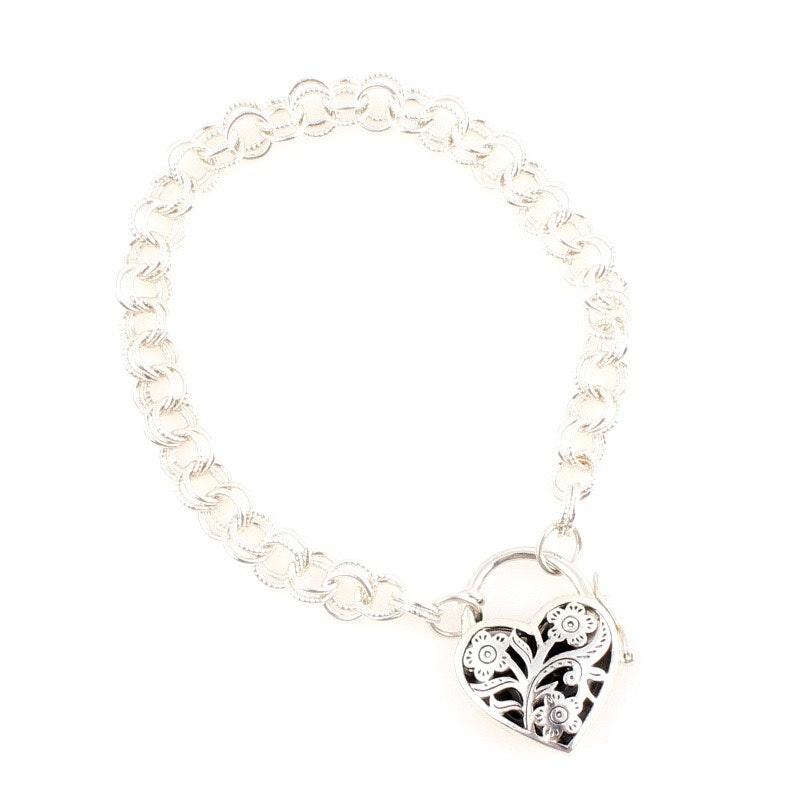 Sterling Silver Heart Dangle Bracelet