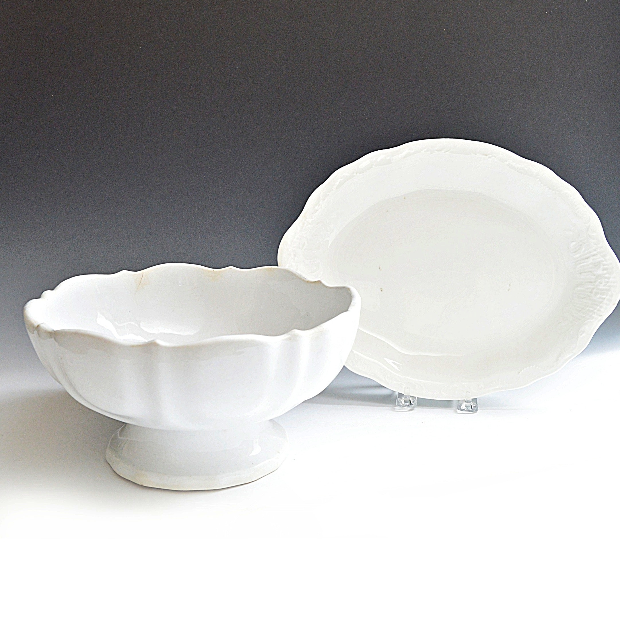 Antique English White Ironstone Compote and Platter