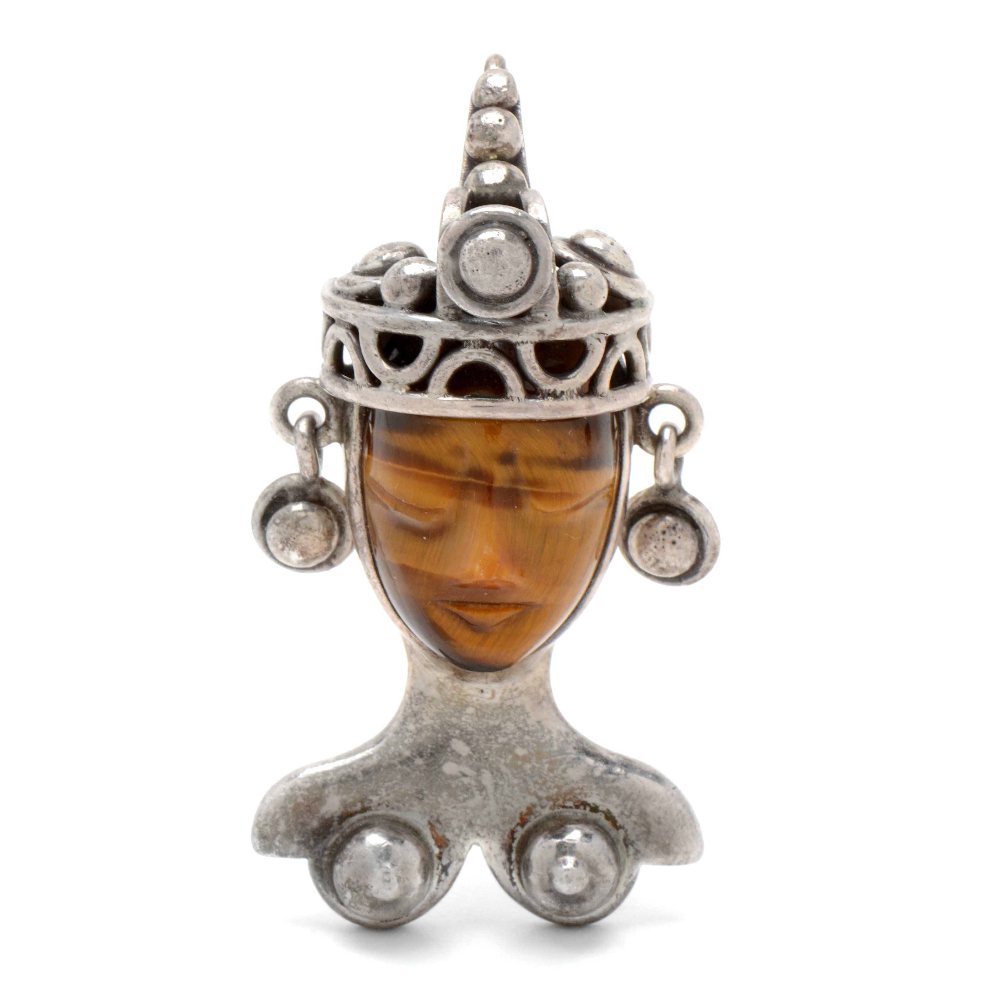 """Vintage 1950's Sterling Silver """"Los Ballesteros"""" Brooch with Tigers Eye Mask"""