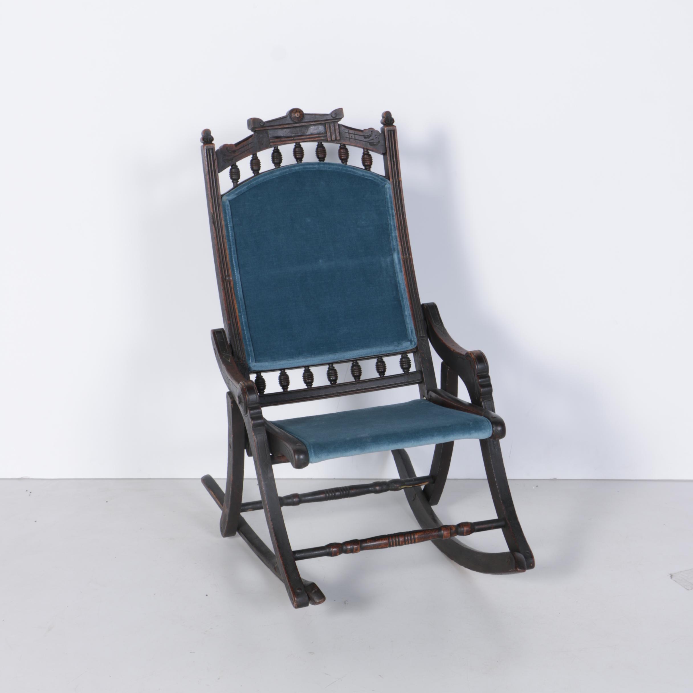 Antique American Eastlake Folding Rocking Chair
