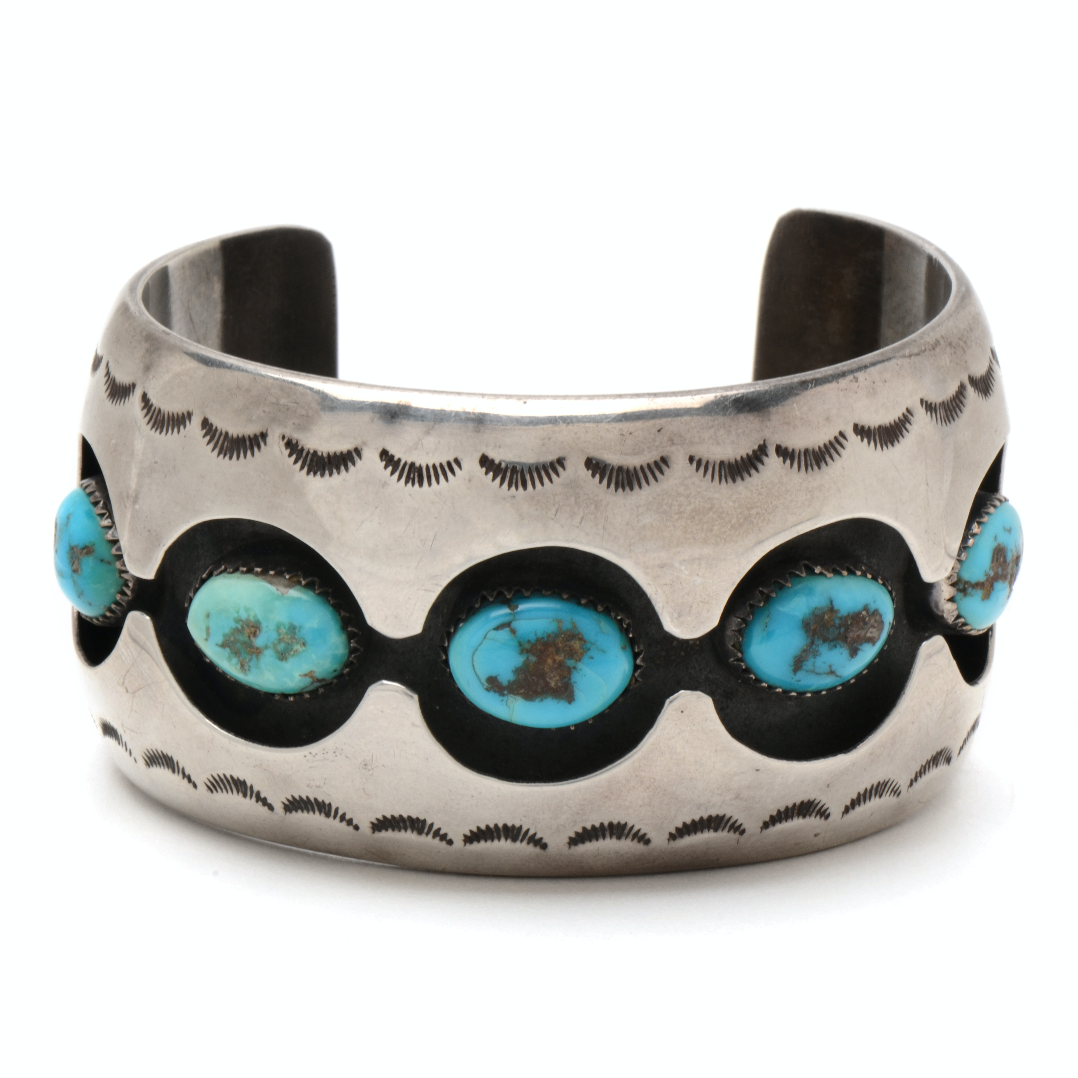 Signed Vintage Navajo Sterling Silver and Turquoise Shadowbox Cuff