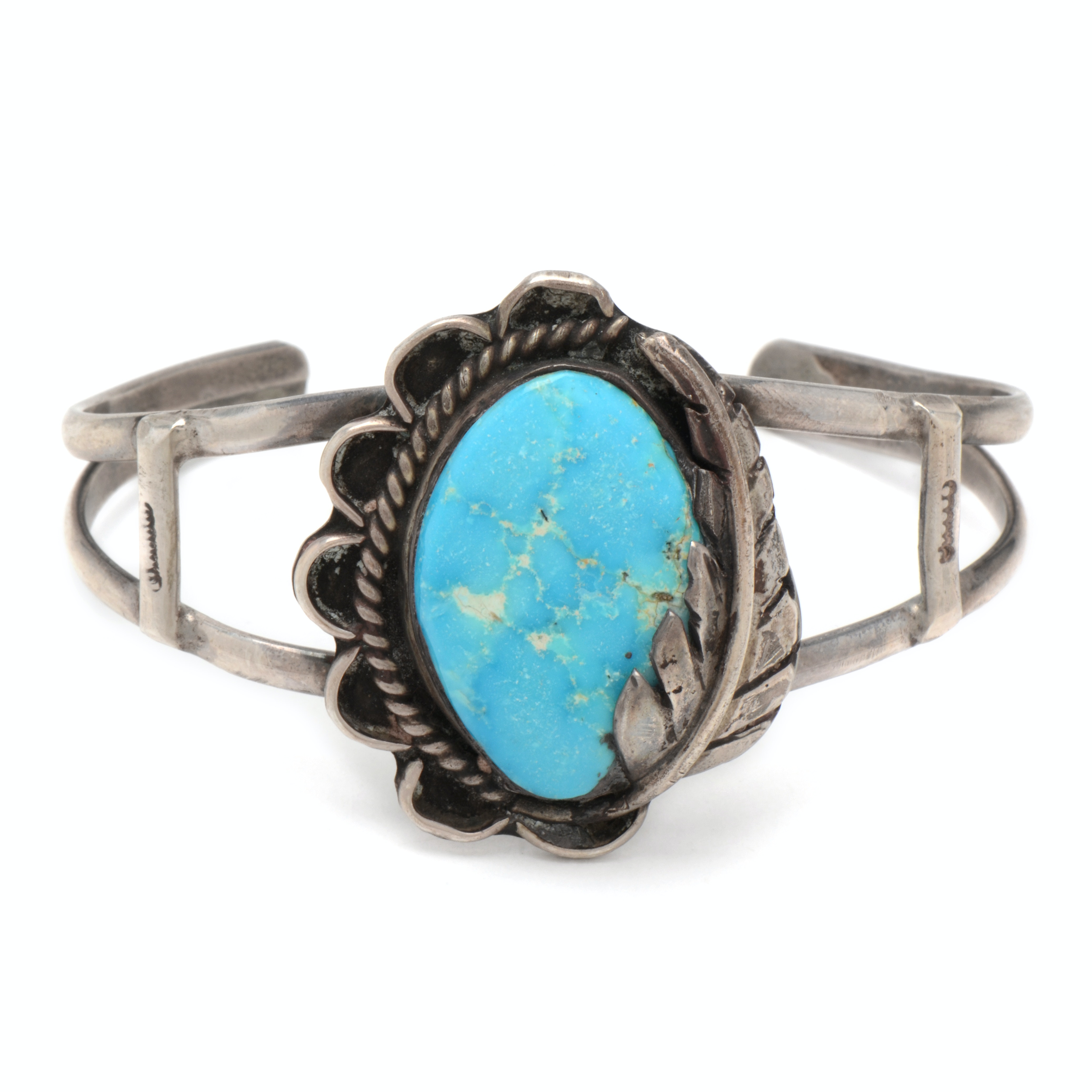 Vintage Southwestern Style Sterling Silver and Turquoise Cuff Bracelet