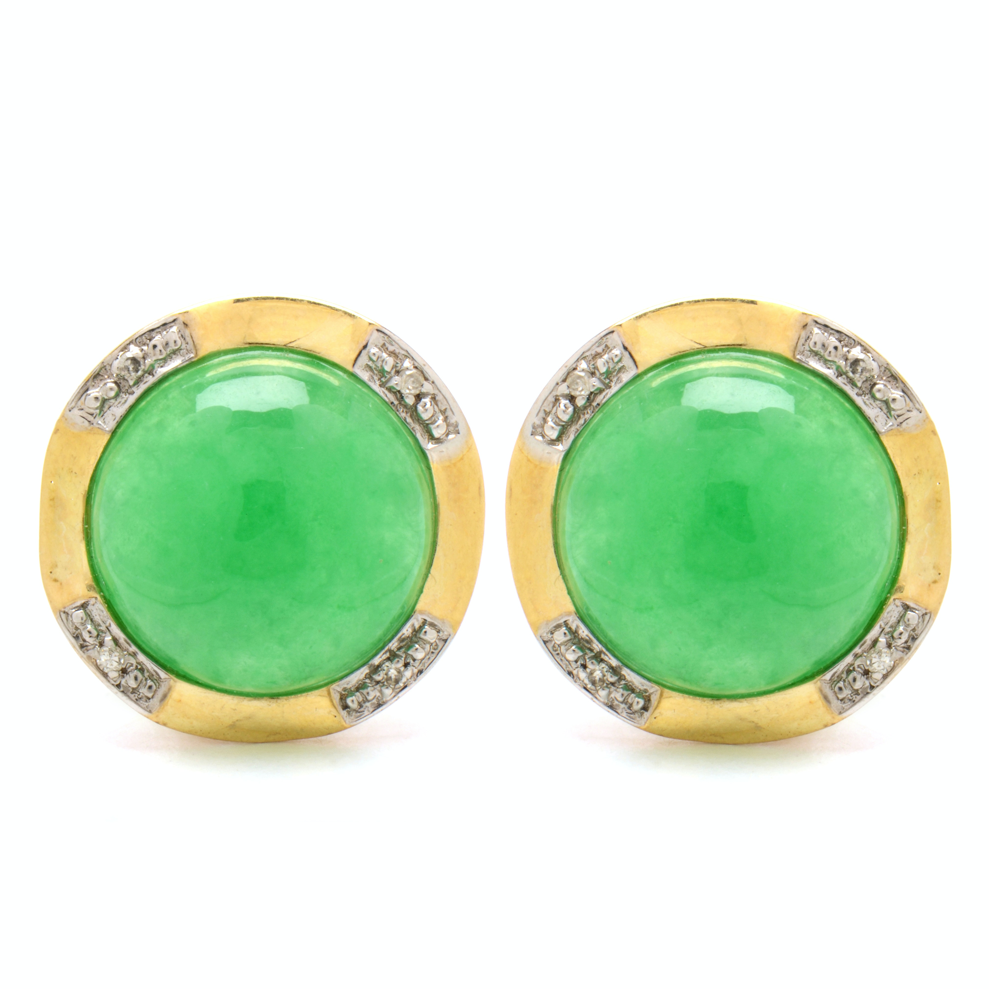 14K Yellow Gold Dyed Jadeite and Diamond Pierced Earrings