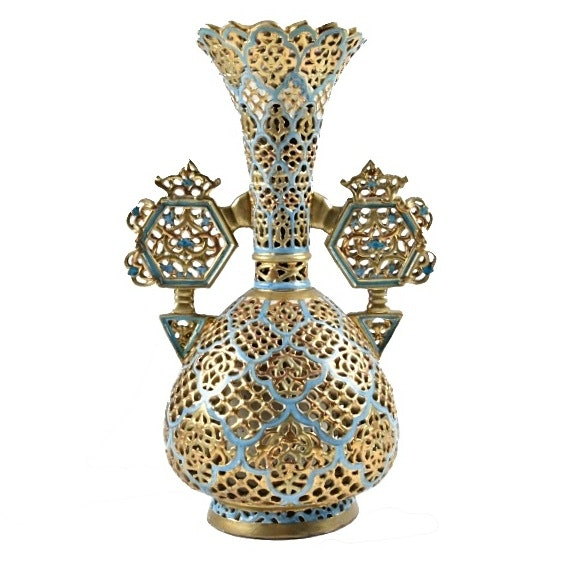 19th-Century Fischer J. Highly Reticulated Vase