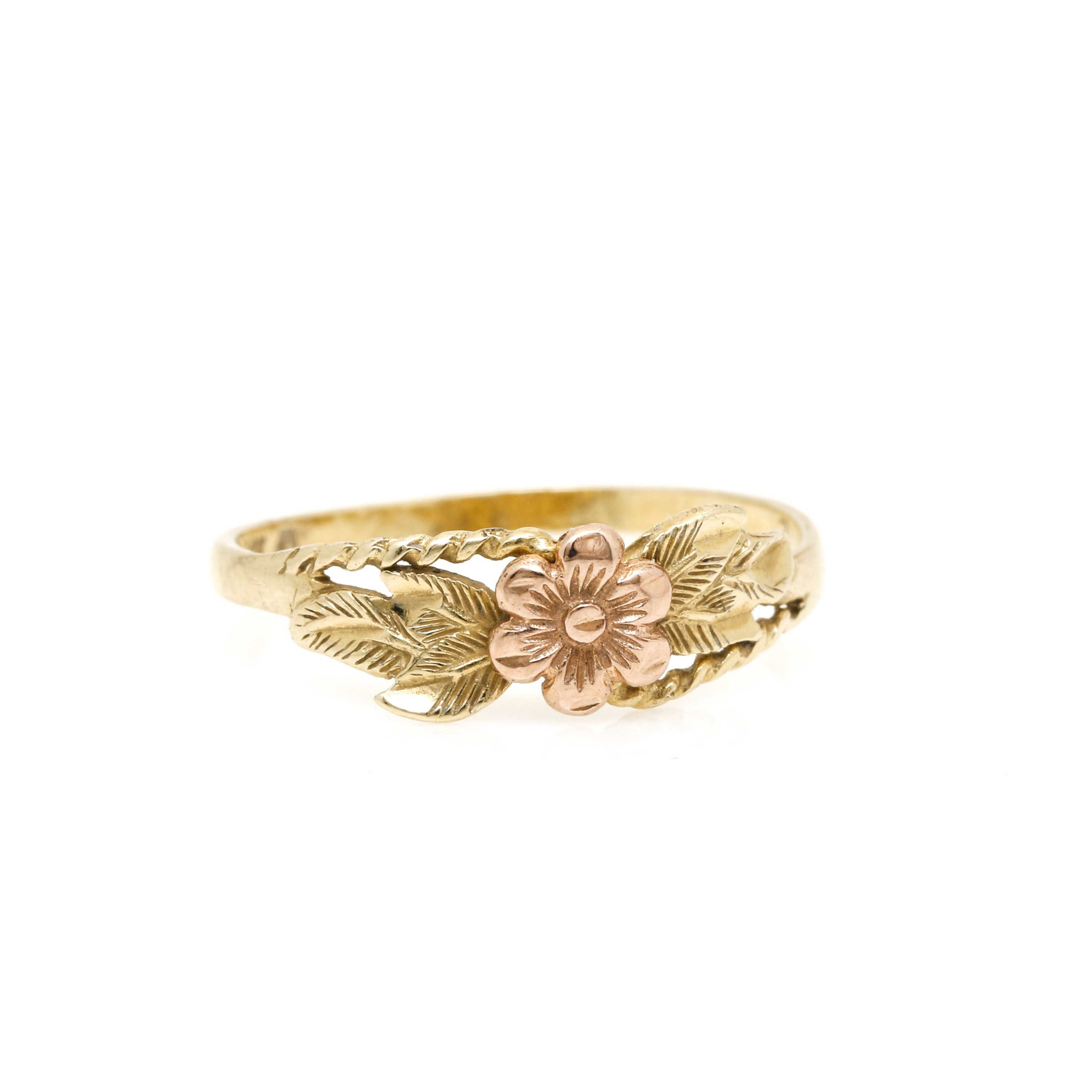 14K Rose and Yellow Gold Flower Ring