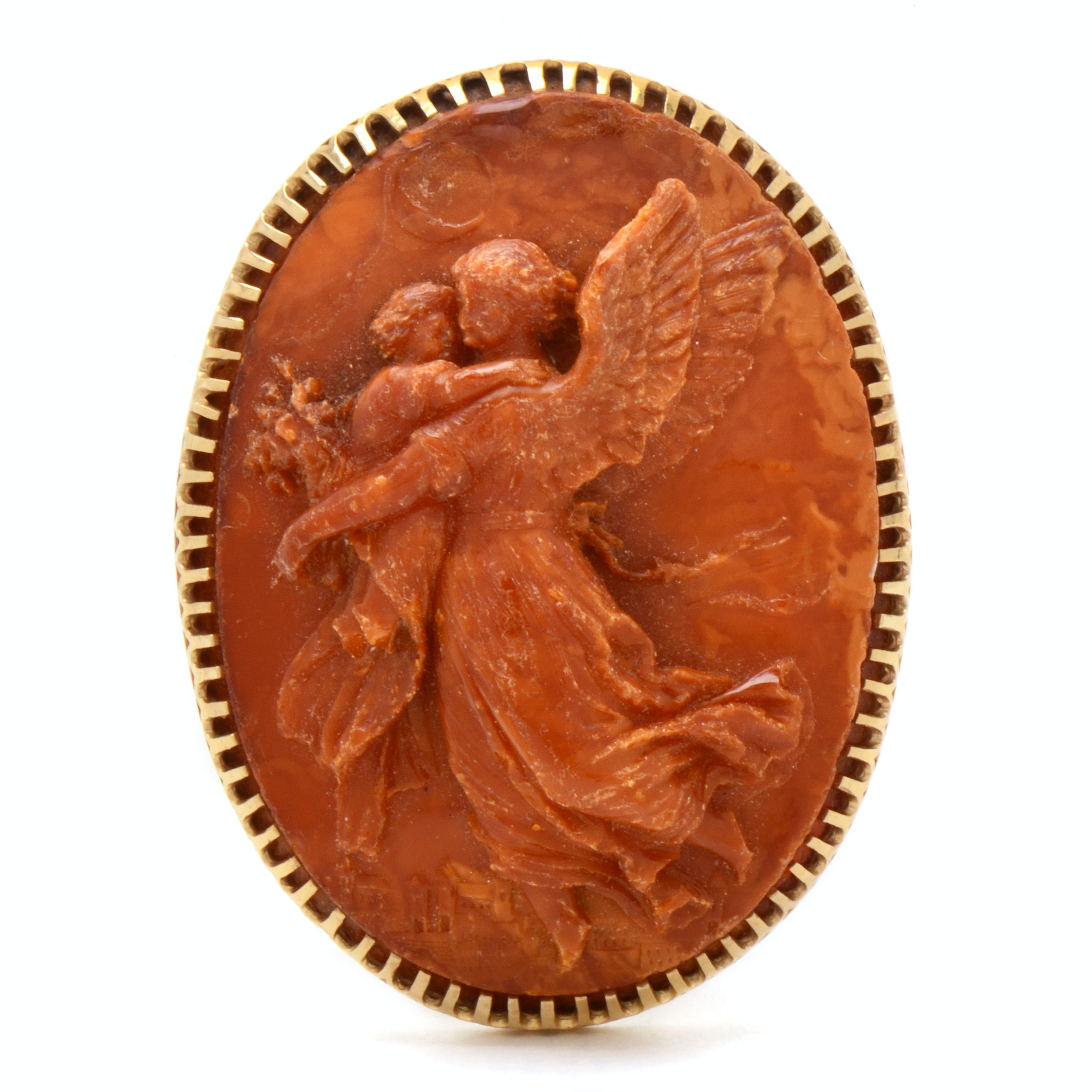 Vintage 14K Yellow Gold Carved Imitation Amber Cameo Brooch