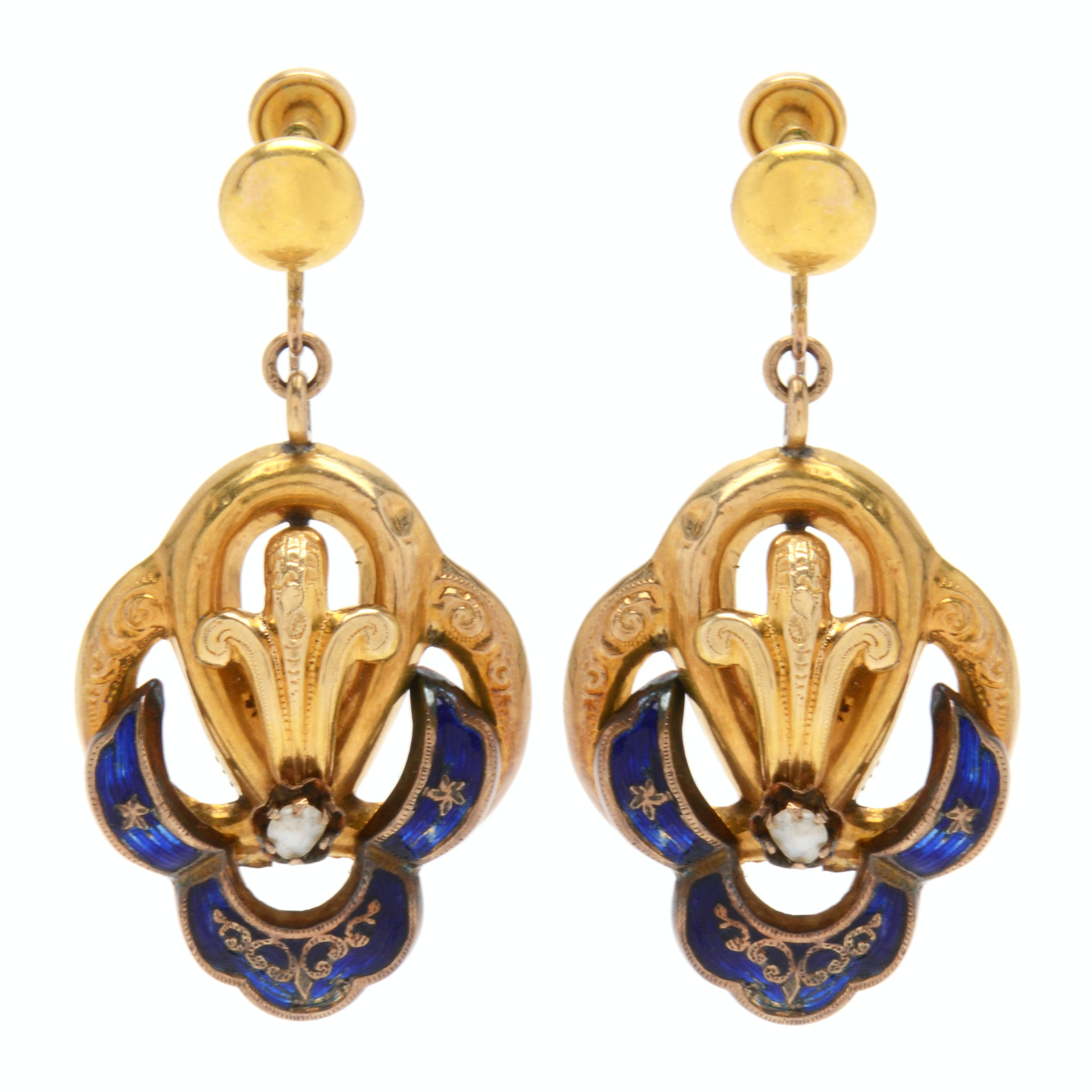 Late Victorian 10K Yellow Gold Seed Pearl and Blue Enamel Earrings