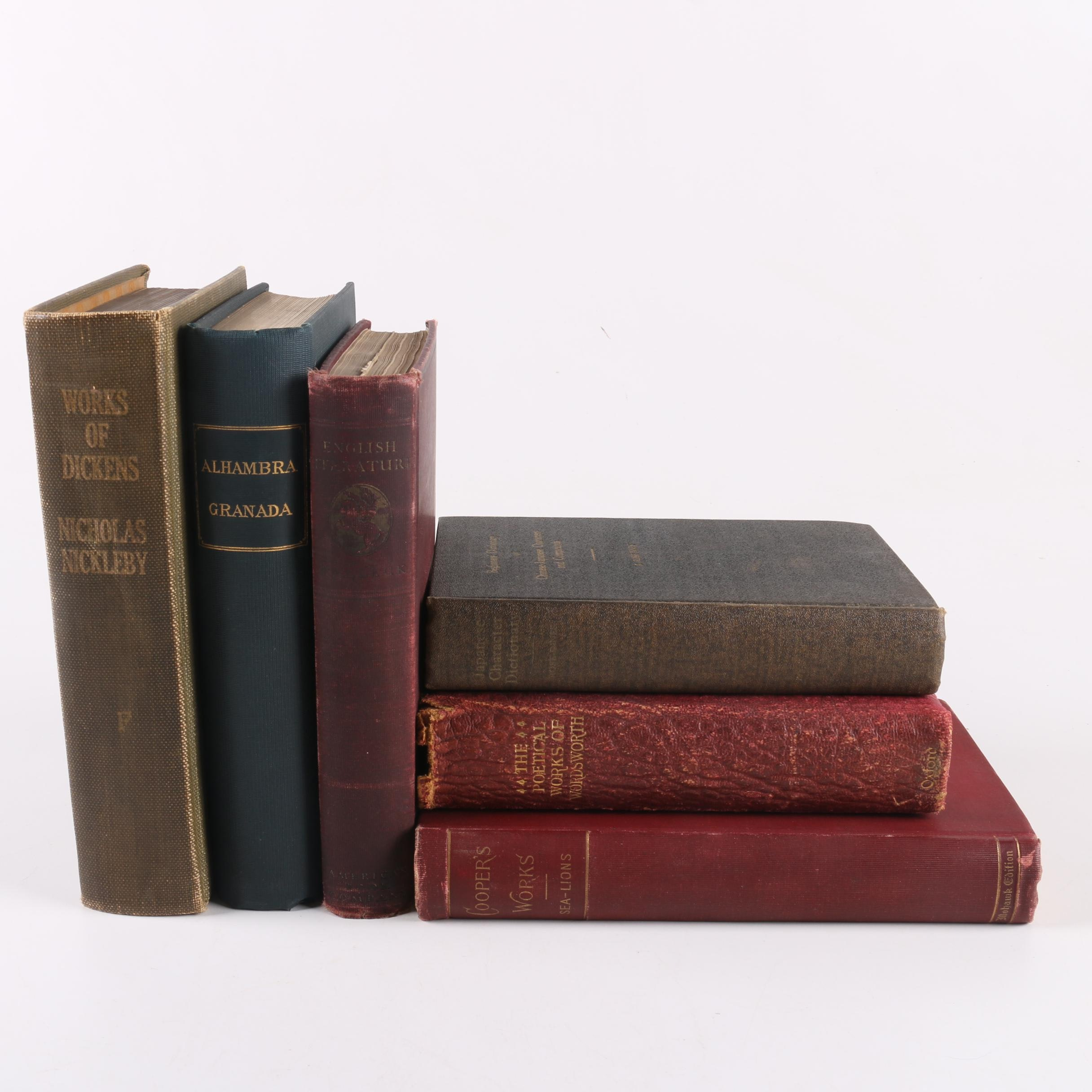 """Antique Hardcover Books Including """"The Alhambra"""" by Washington Irving"""