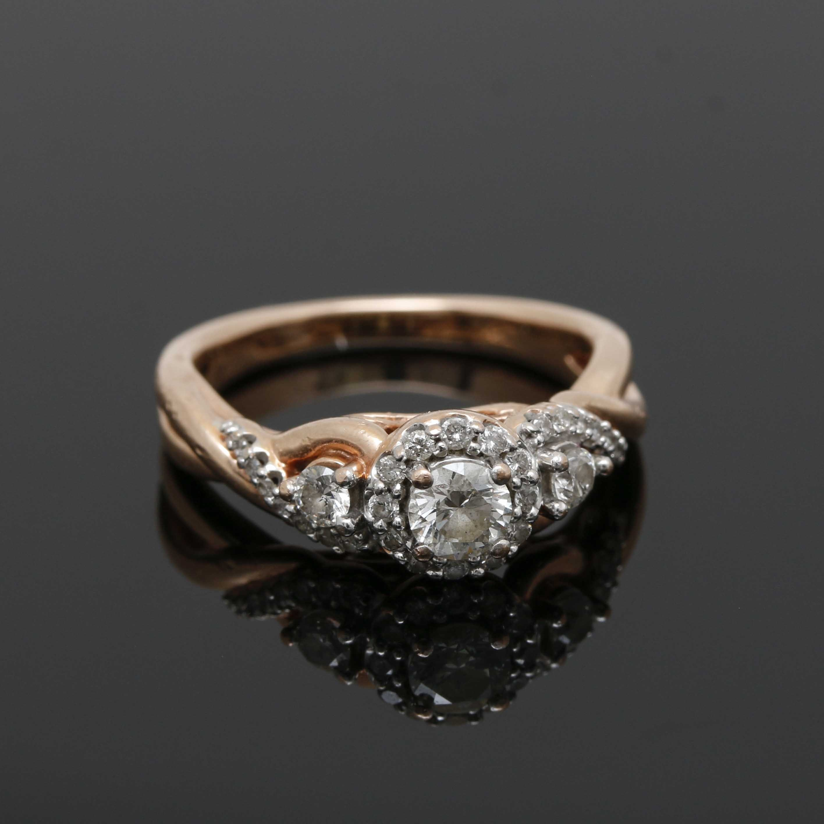 10K Rose Gold Twisted Diamond Ring