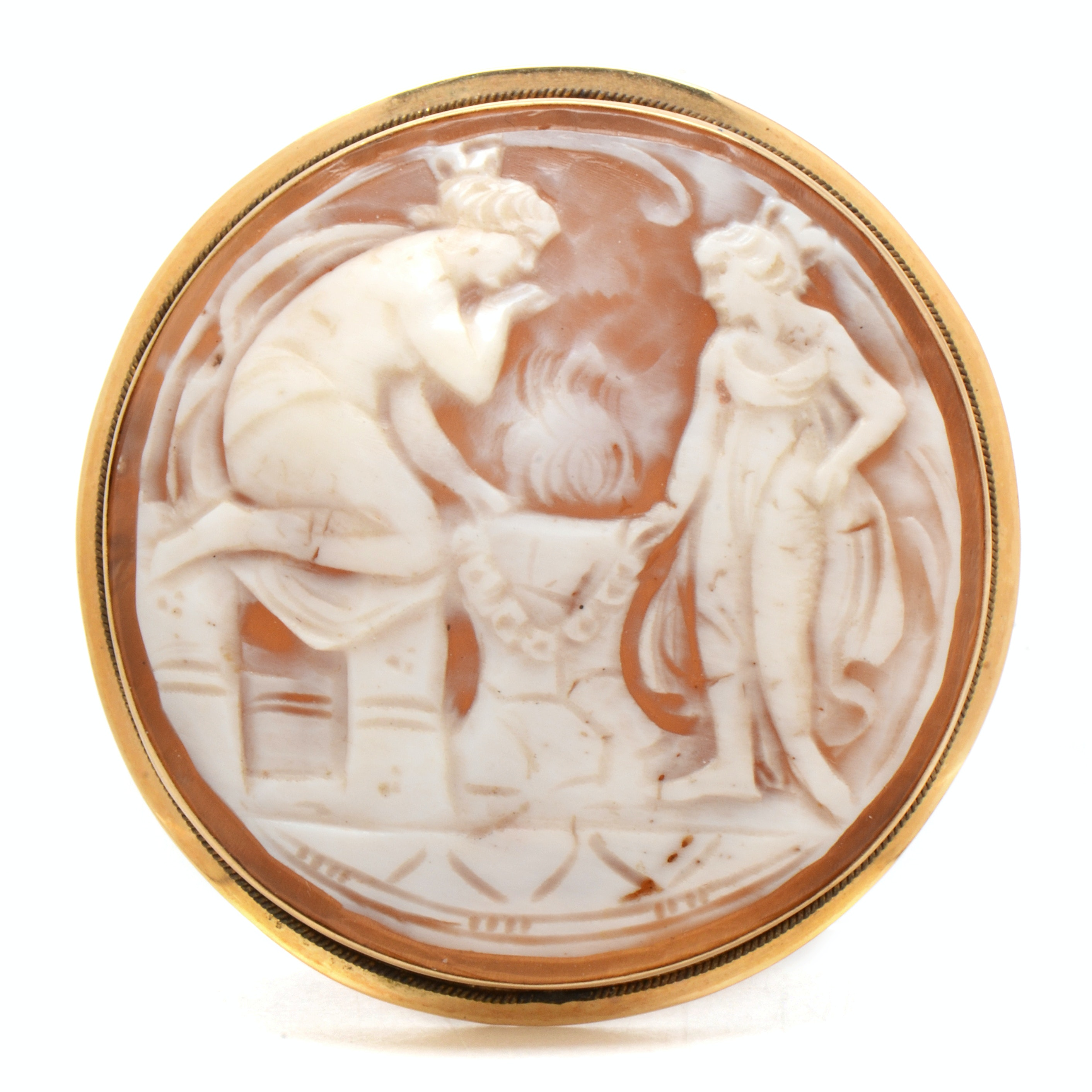 14K Yellow Gold Carved Round Shell Cameo Converter Brooch