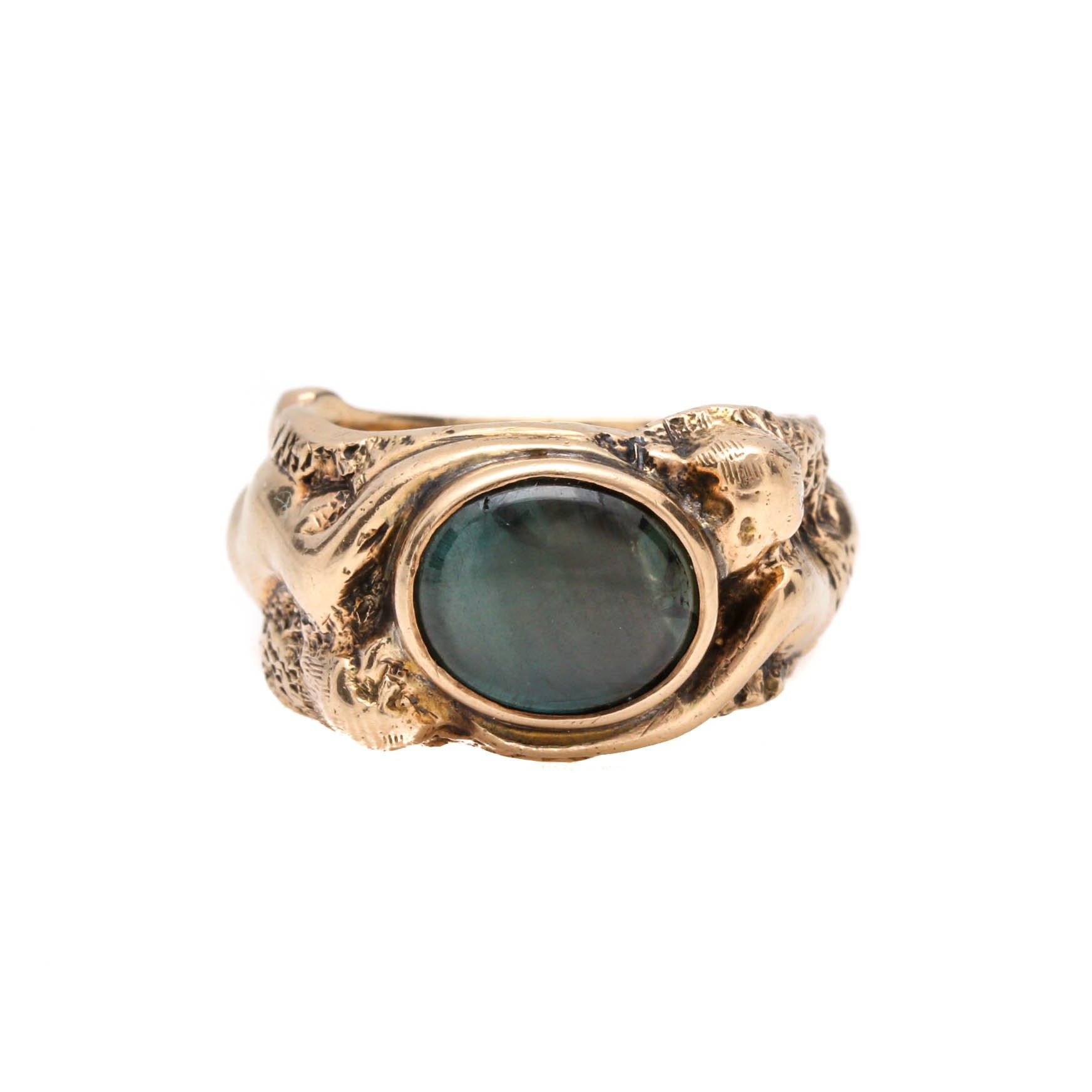 Art Nouveau 14K Yellow Gold Black Star Sapphire Adam & Eve Ring