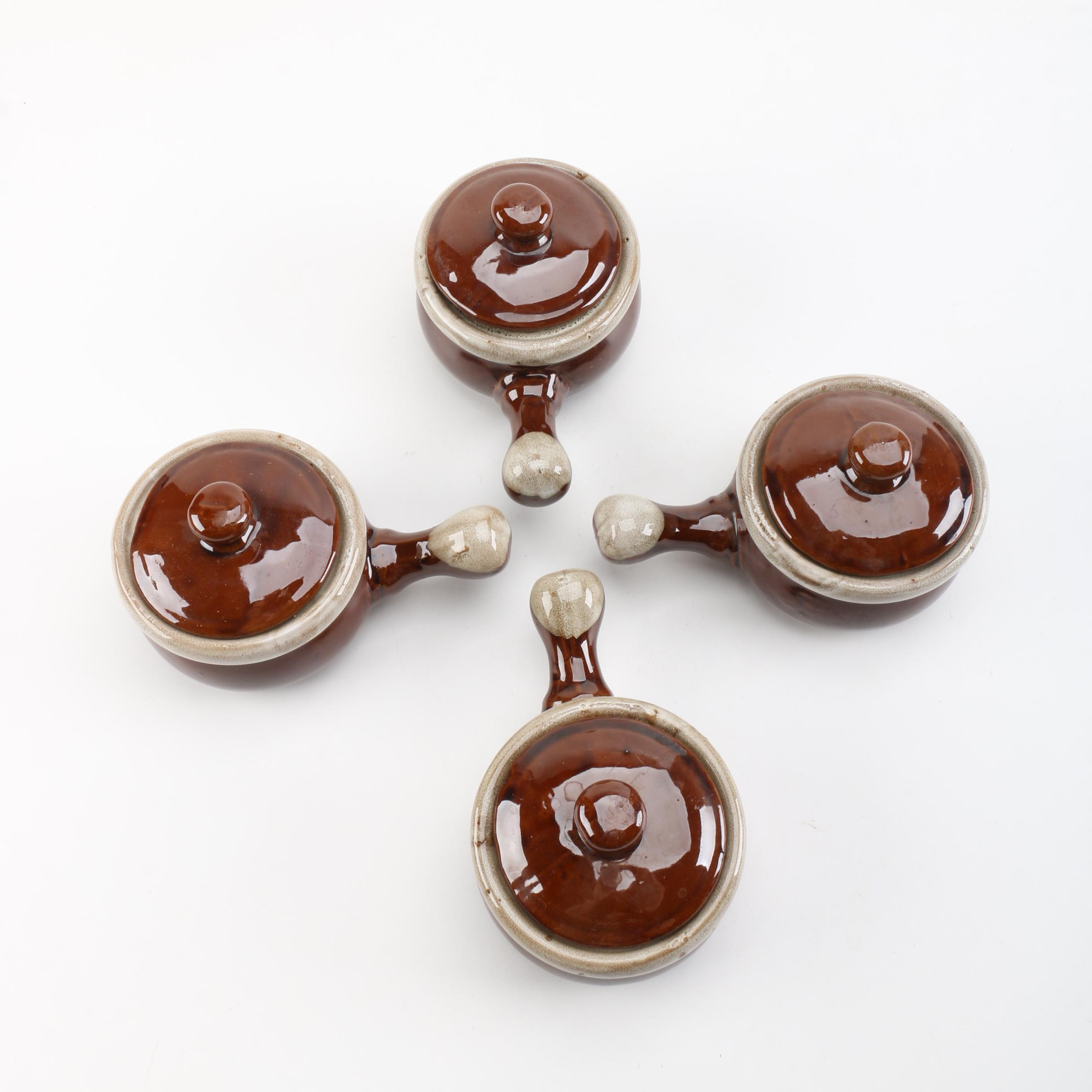 """Toscany Collection """"Chefmates"""" Brown Glazed Lidded Bowls"""