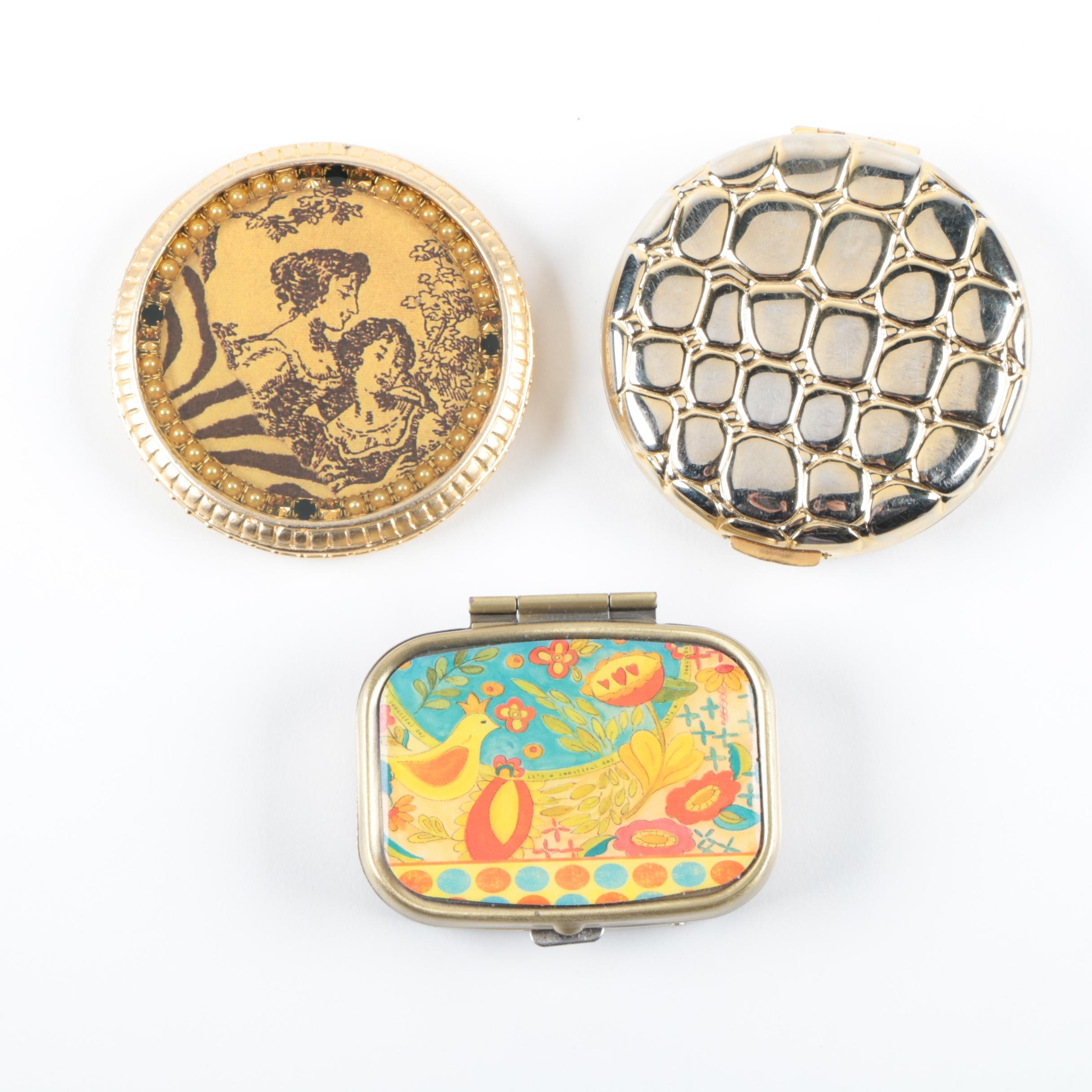 Gold Tone Mirror, Compact and Pillbox Including Estee Lauder