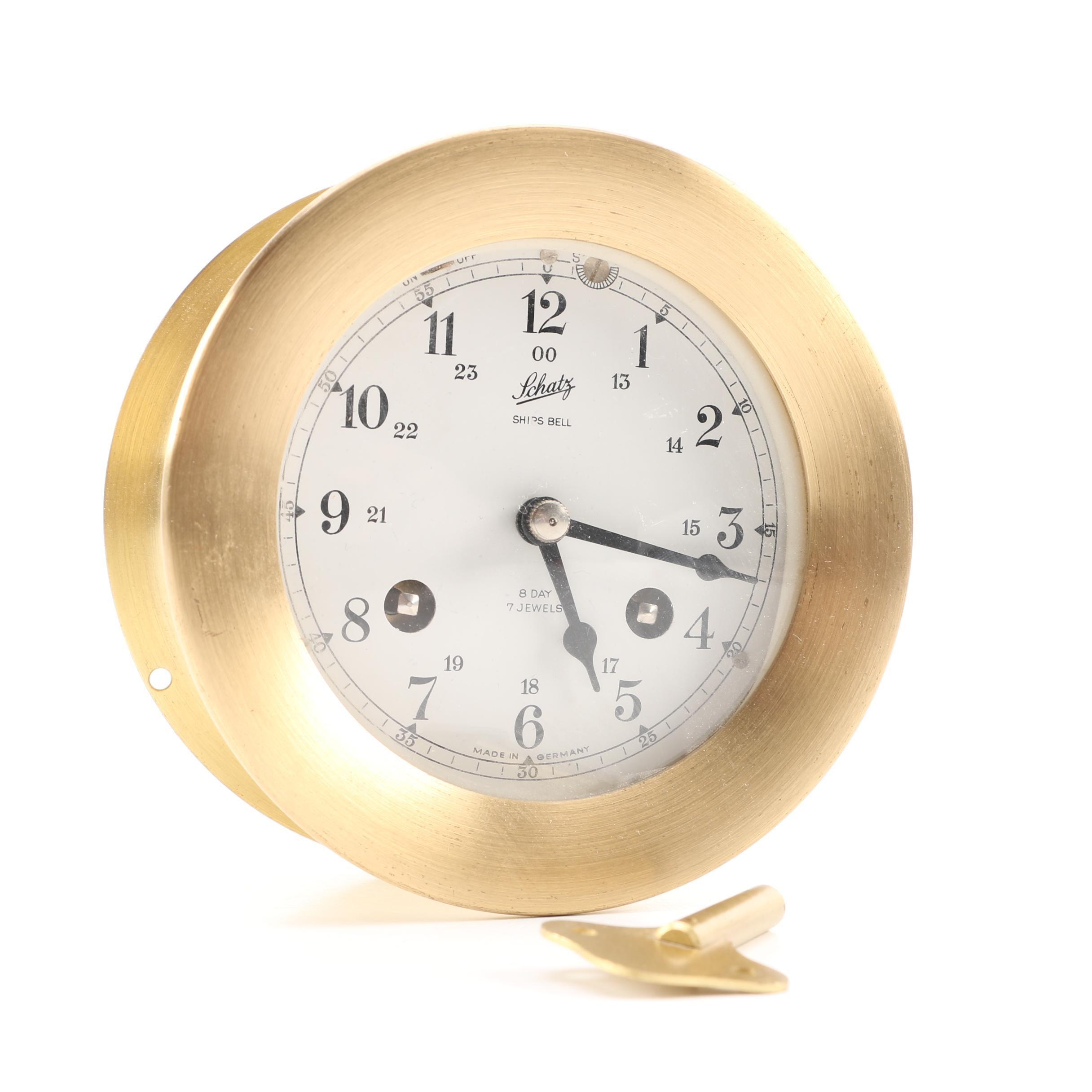 Schatz Brass Ship's Bell Clock from Germany