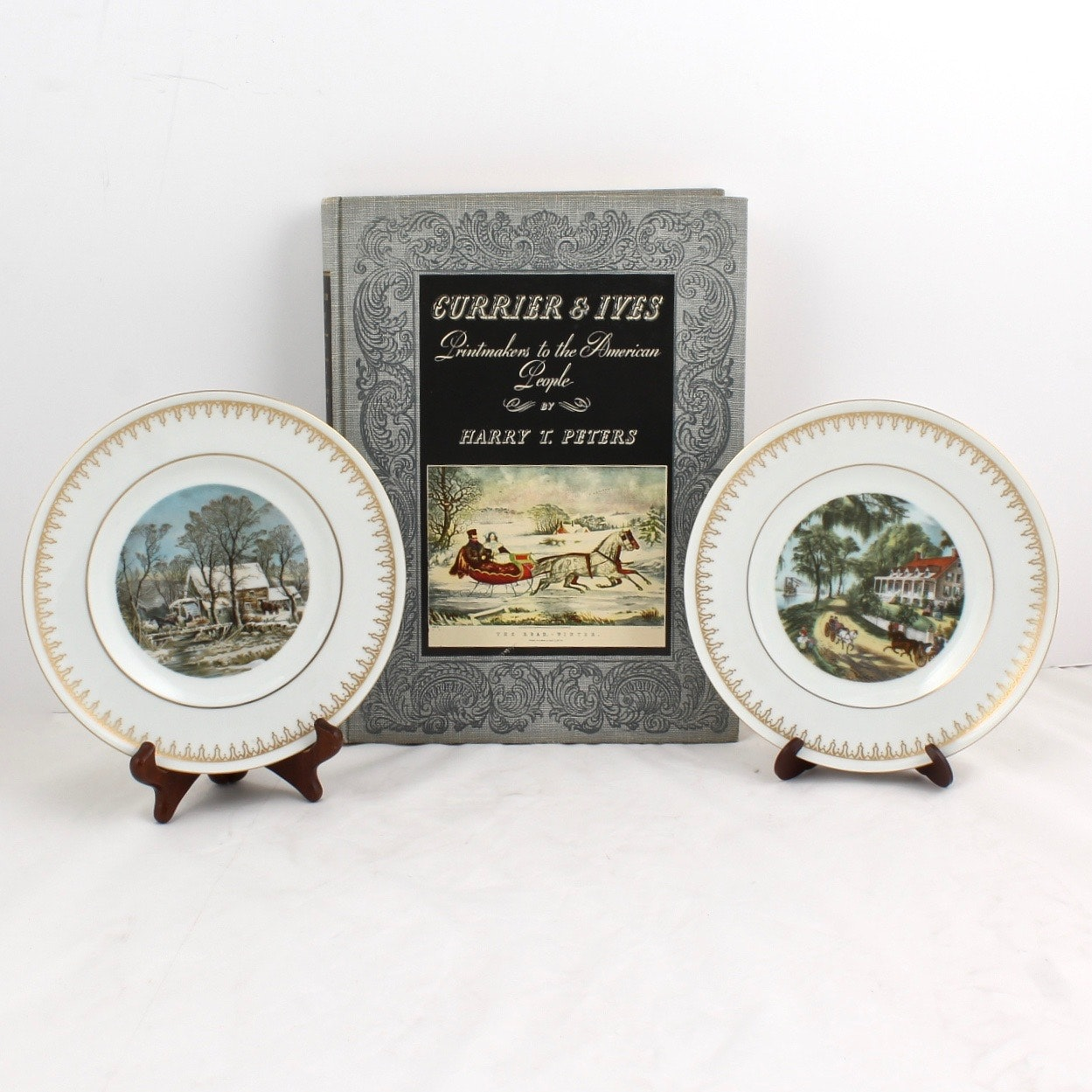 Currier & Ives Collector Plates and Book