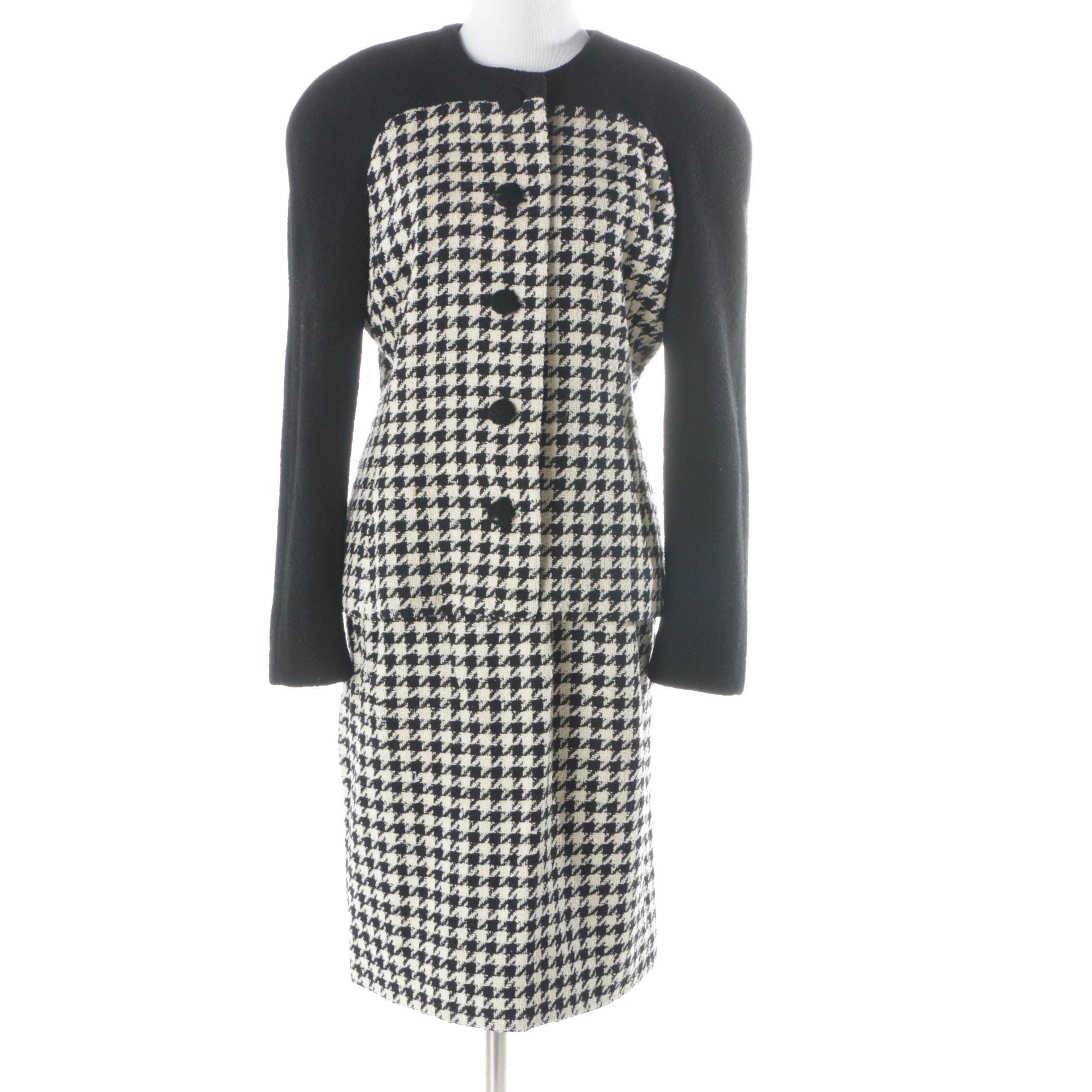 Women's CH by Carolina Herrera Houndstooth Check Wool Suit