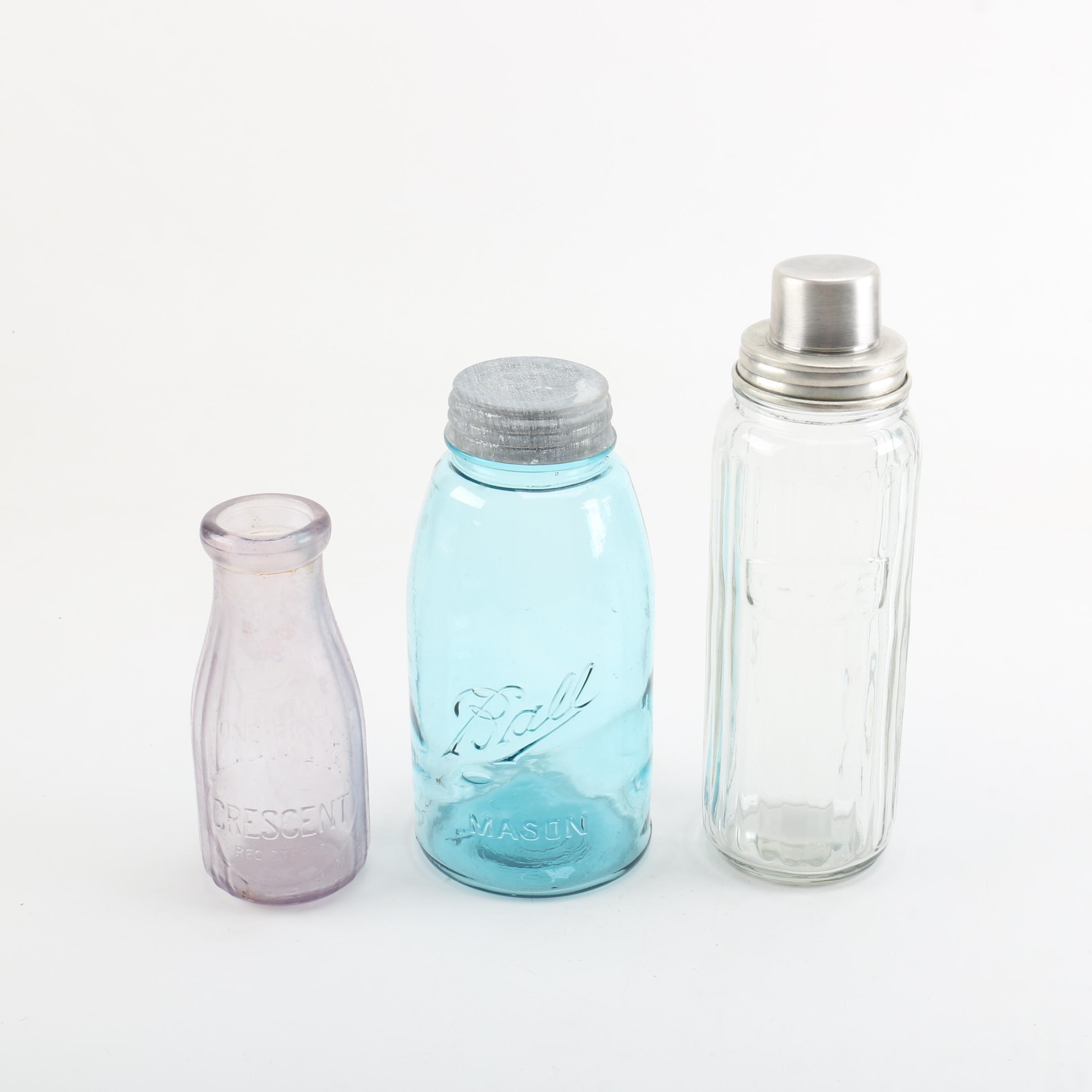 Vintage Glass Bottle and Jars