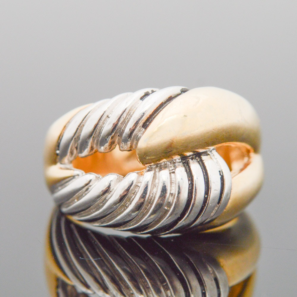 Gold Wash on Sterling Silver Domed Knot Ring