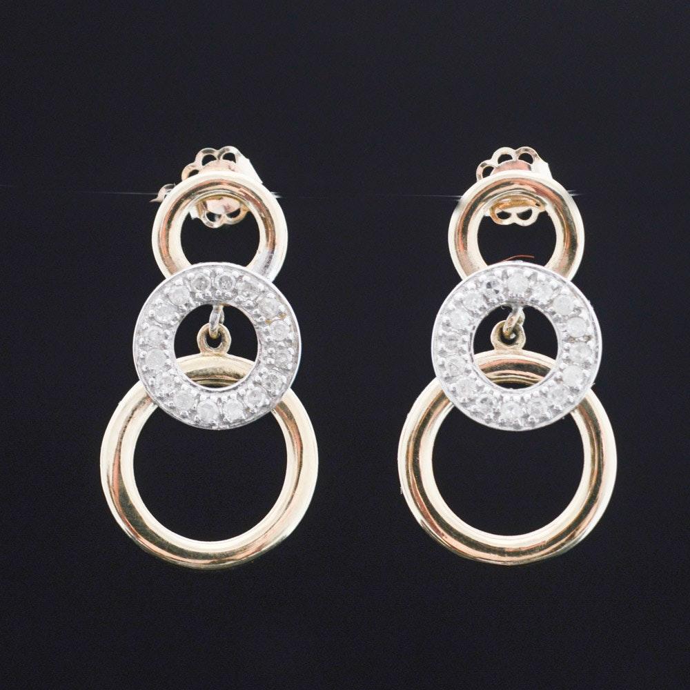 10K Bi-Color Gold Diamond Drop Earrings