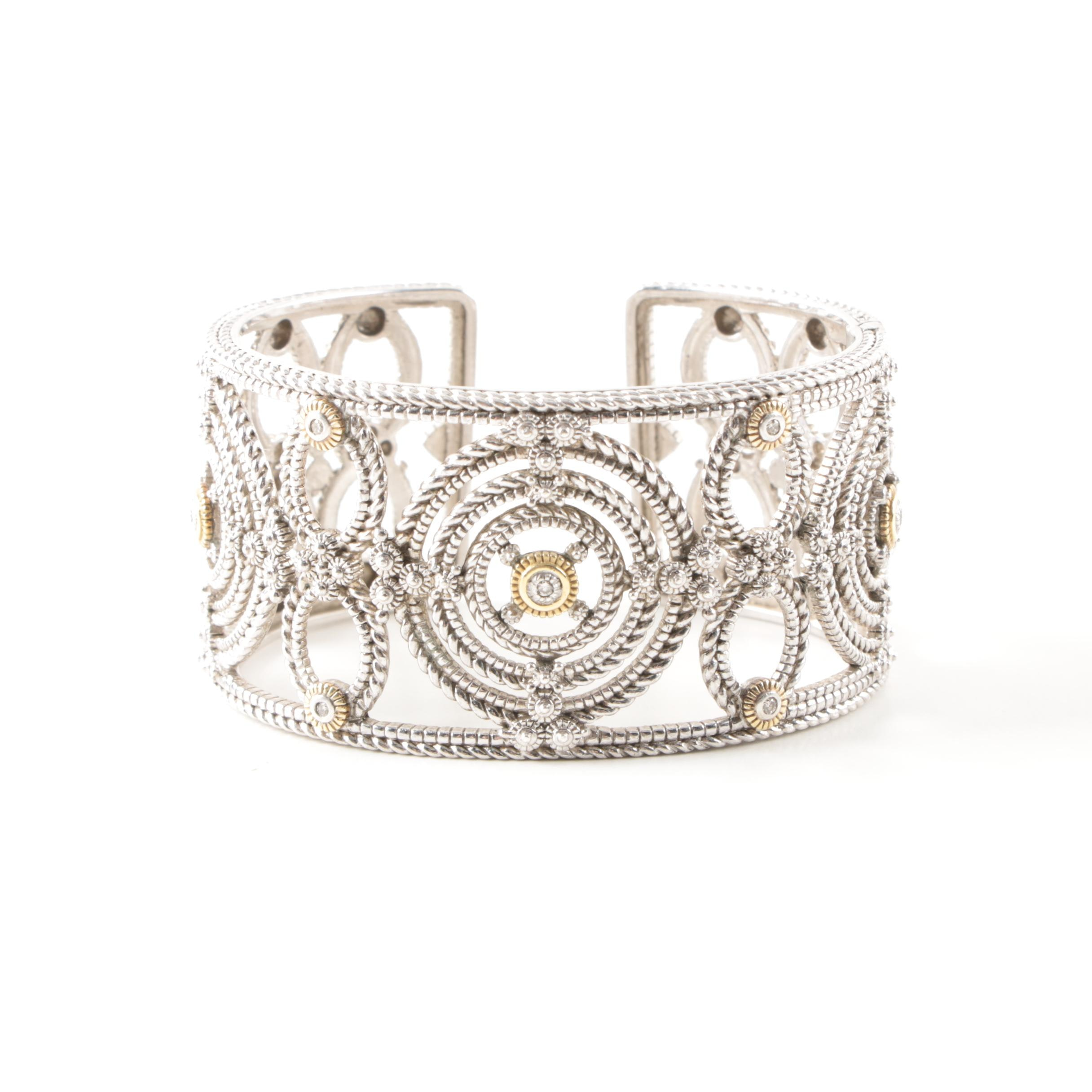 Judith Ripka Sterling Silver Diamond Cuff Bracelet With 18K Yellow Gold Accents