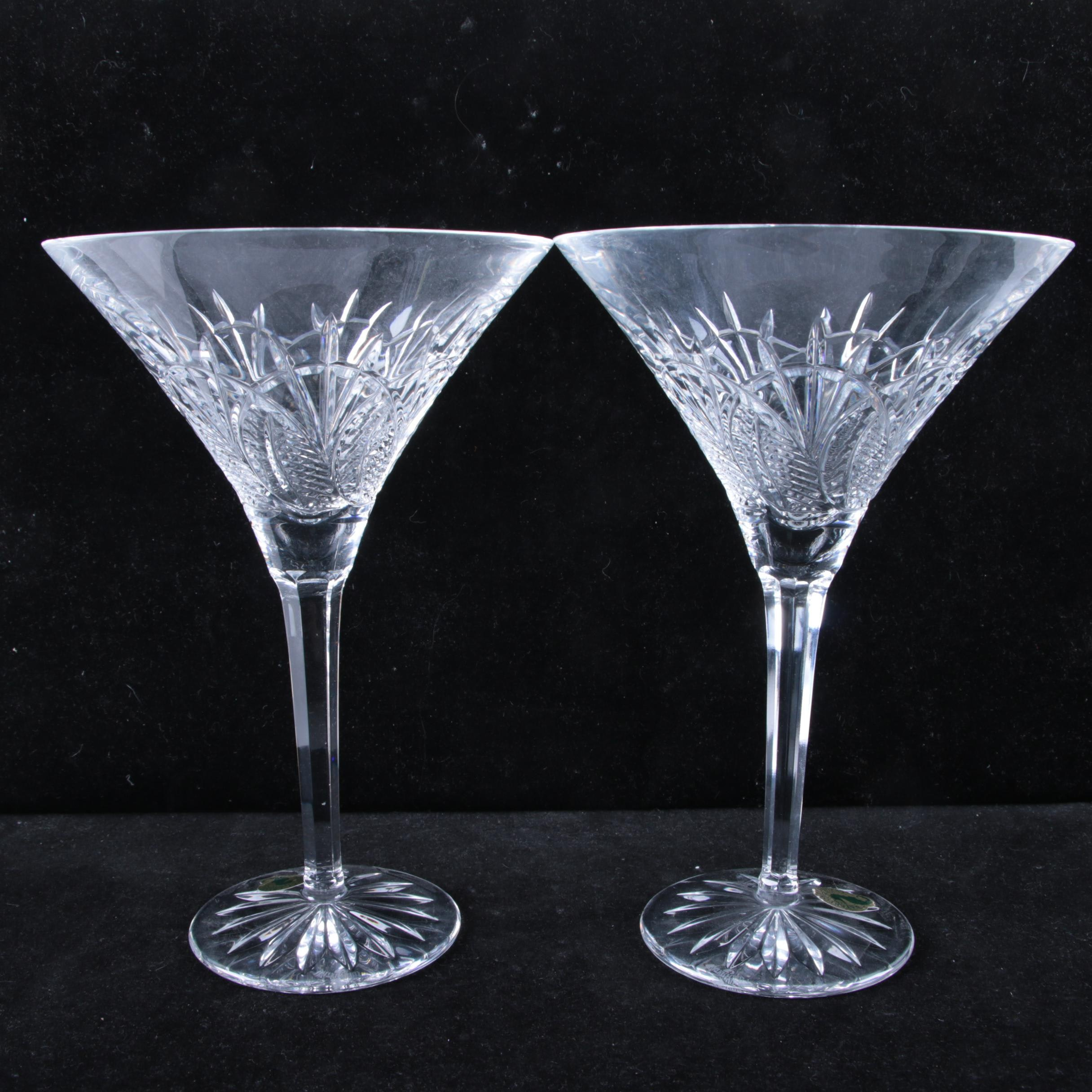 "Pair of Waterford Crystal ""Seahorse"" Martini Glasses"