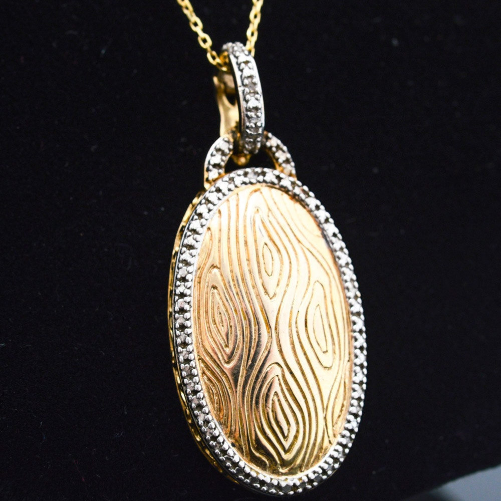 Gold Wash on Sterling Silver Diamond Pendant Necklace