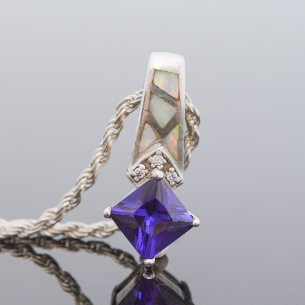 Sterling Silver Imitation Gemstone and Cubic Zirconia Pendant Necklace