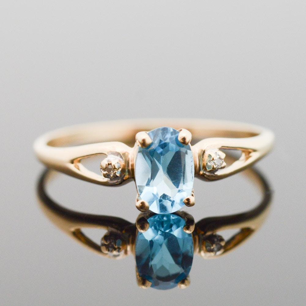 10K Yellow Gold Blue Topaz and Diamond Ring