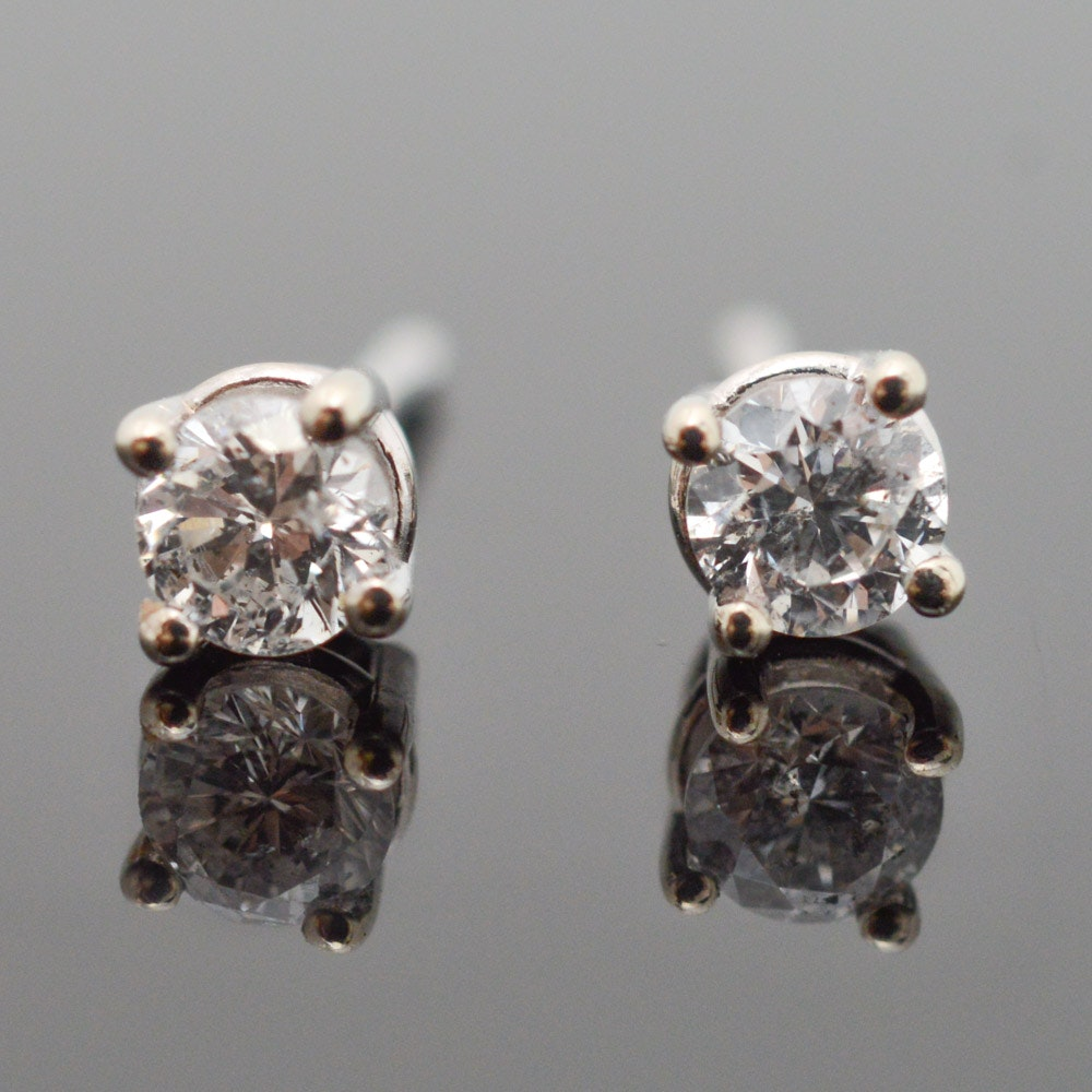 14K White Gold Diamond Solitaire Earrings