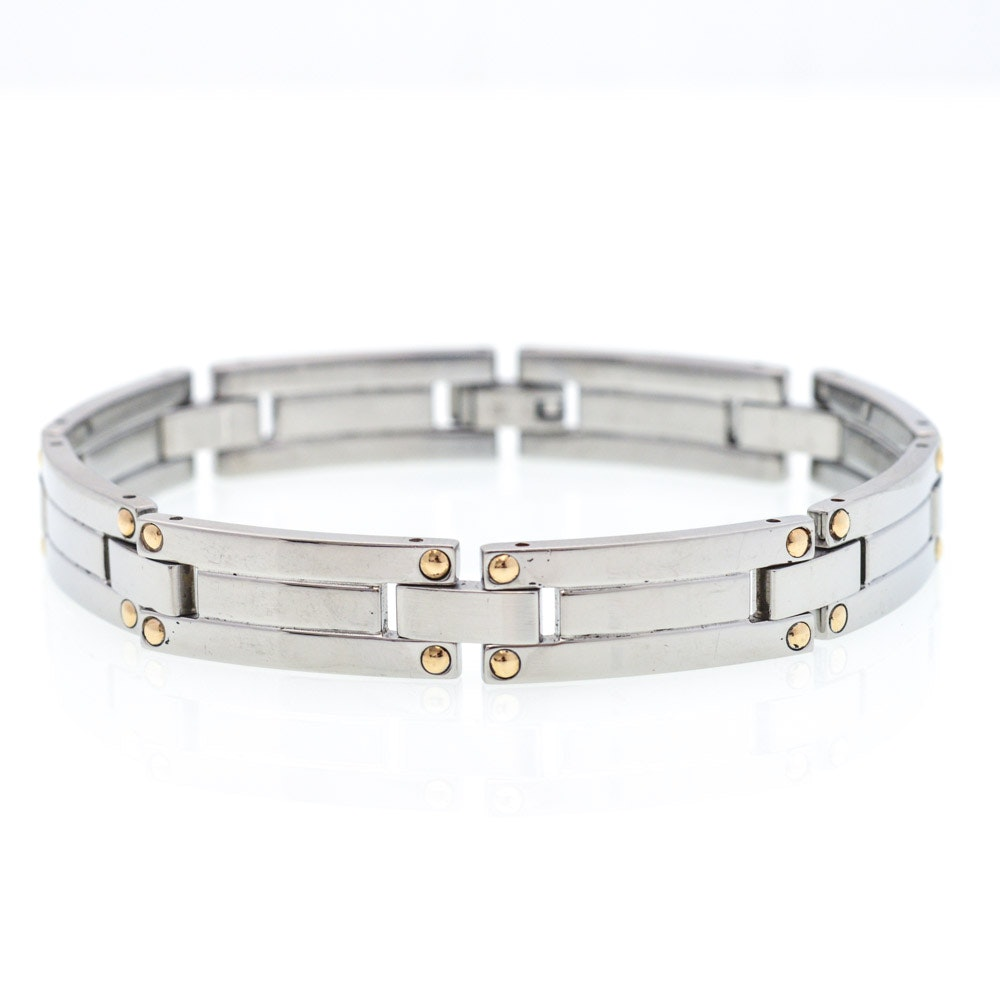 Stainless Steel 18K Yellow Gold Accented Bracelet