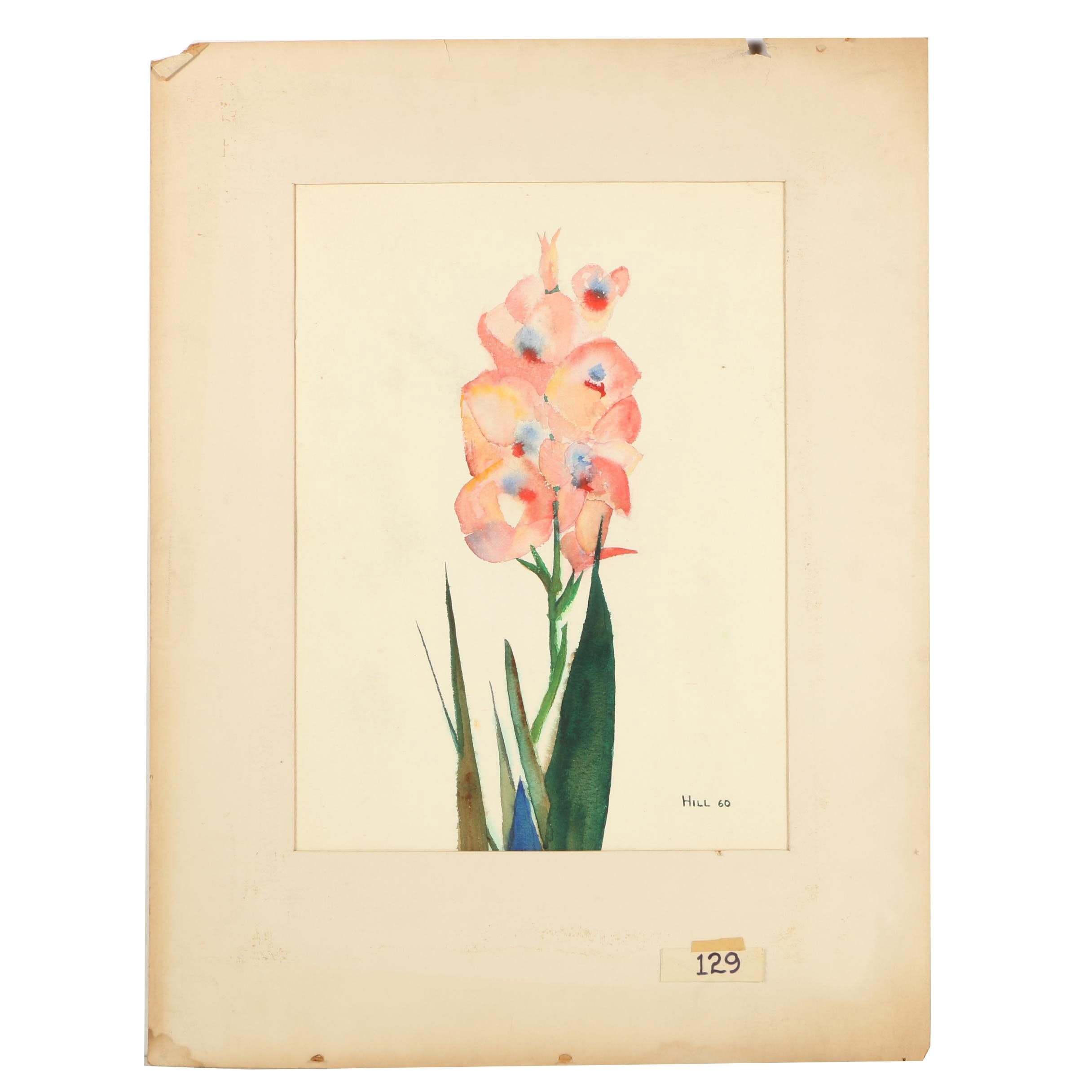 "1960 Hill Watercolor Painting ""Flowers III"""