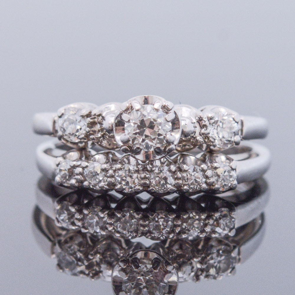 Jabel 18K White Gold Diamond Wedding Set