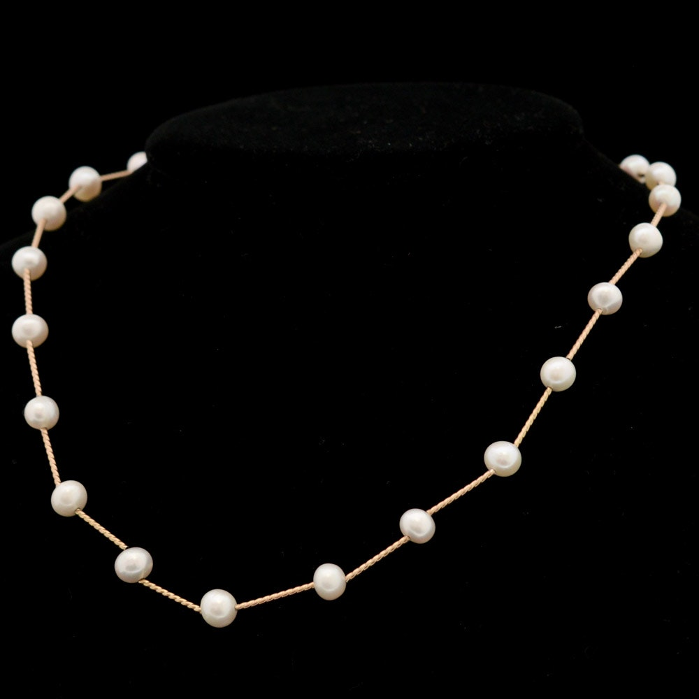 Gold Tone Cultured Pearl Necklace