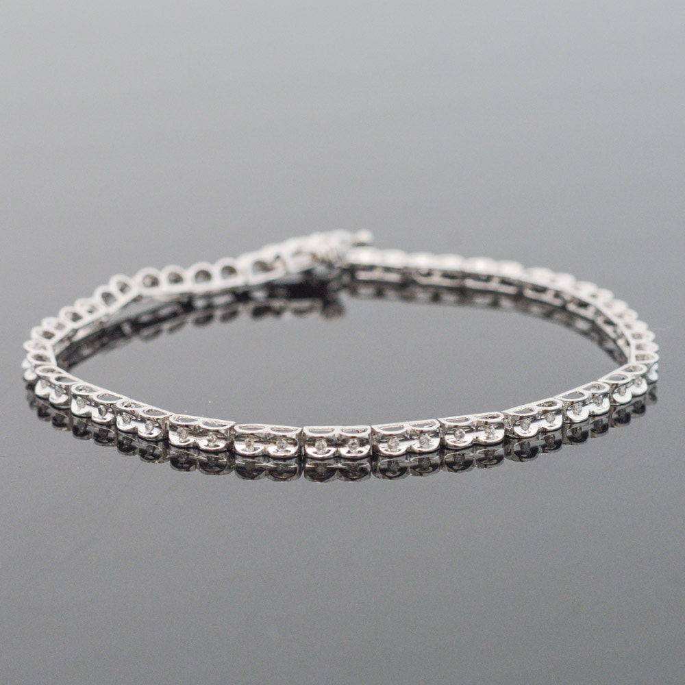 10K White Gold Diamond Tennis Bracelet