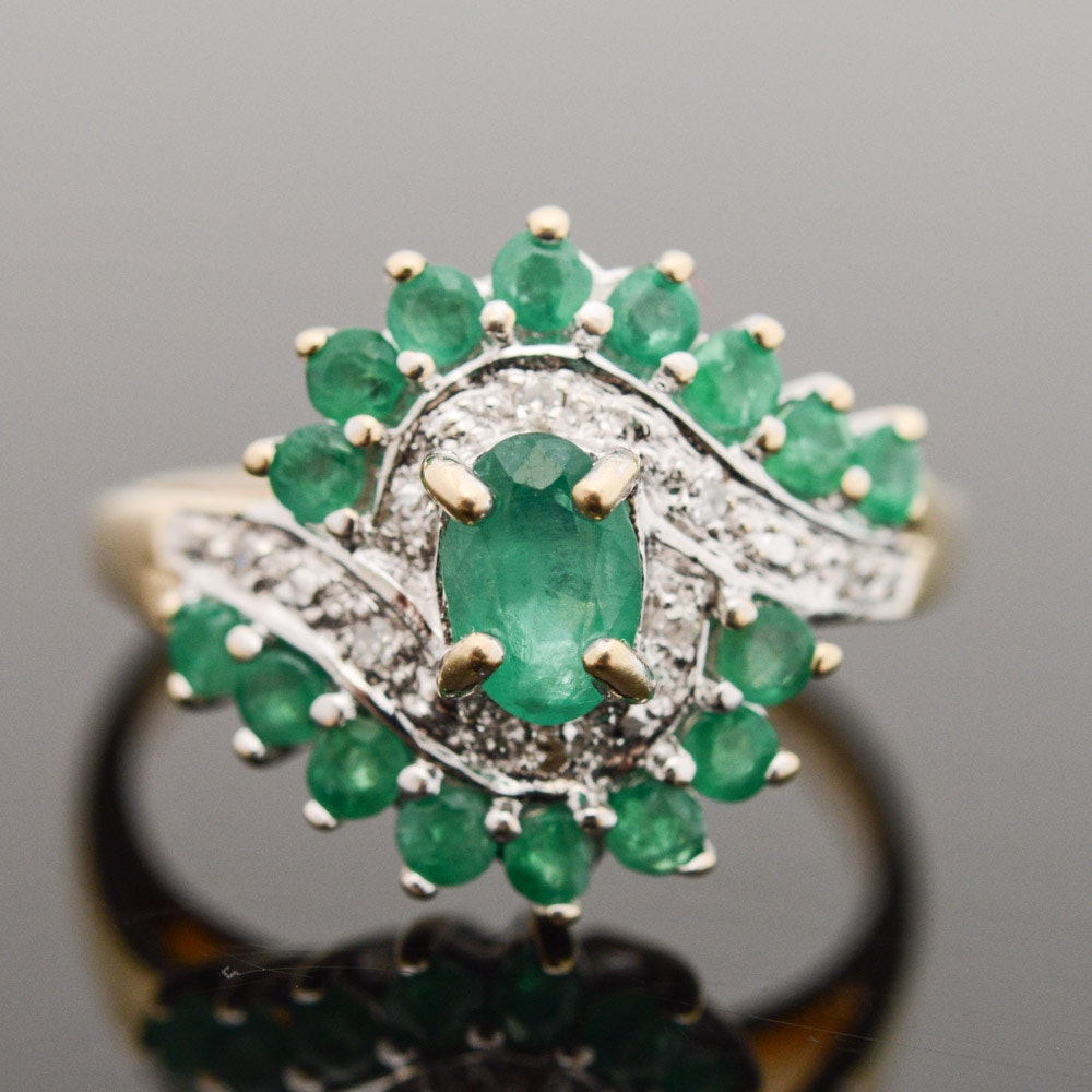 10K Yellow Gold Emerald and Diamond Cocktail Ring