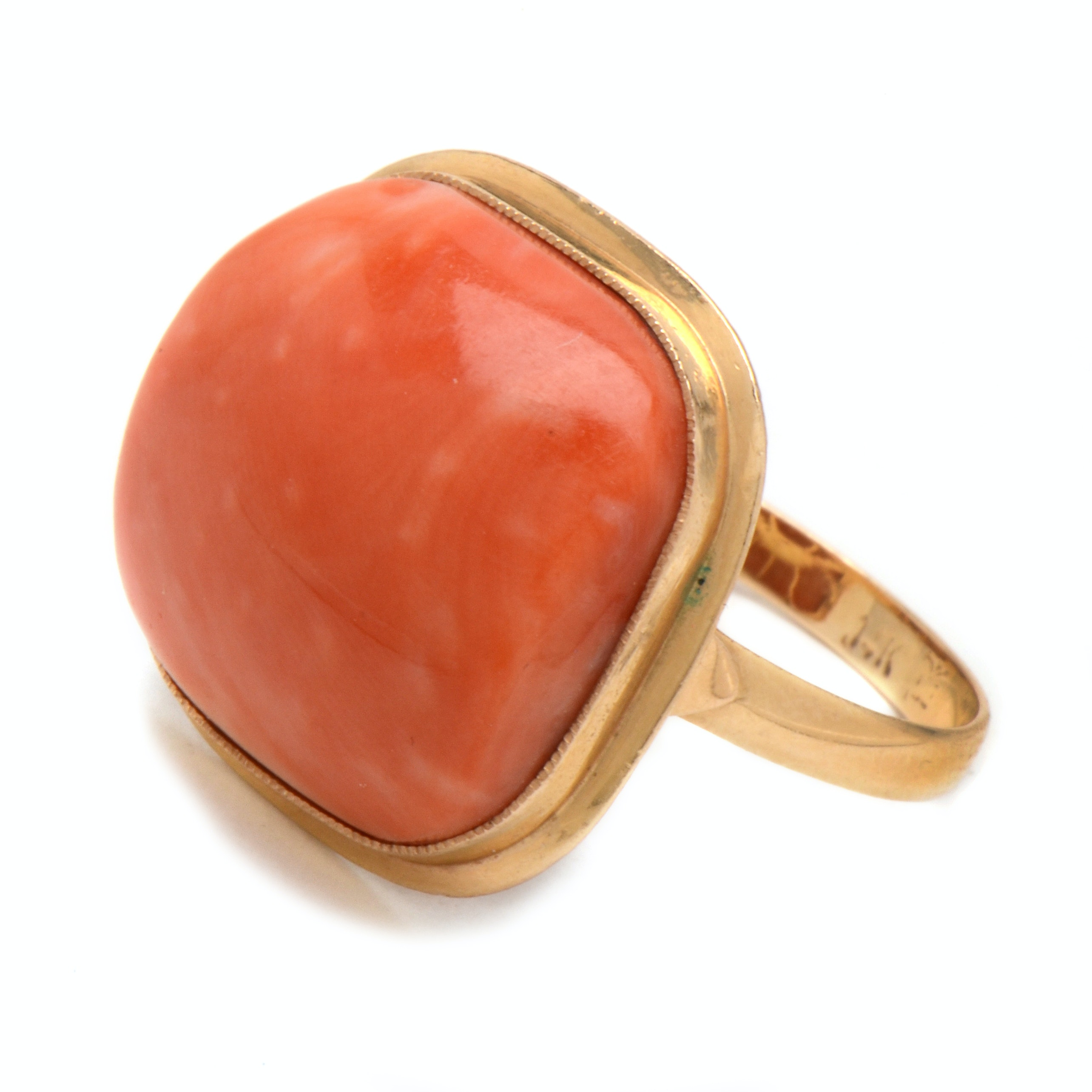 Chinese 14K Yellow Gold Coral Ring