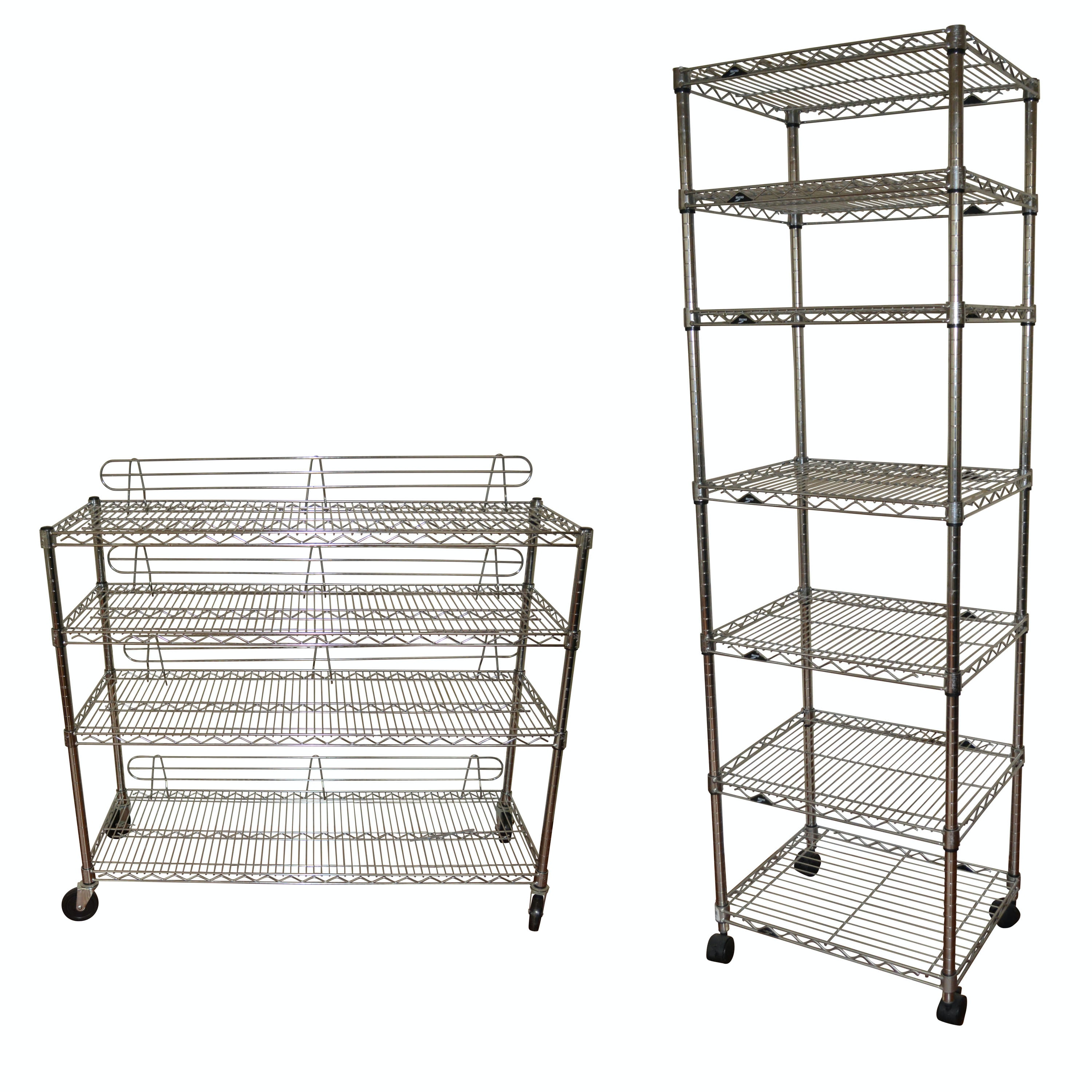 Pair of Metro Wire Rolling Shelving Units