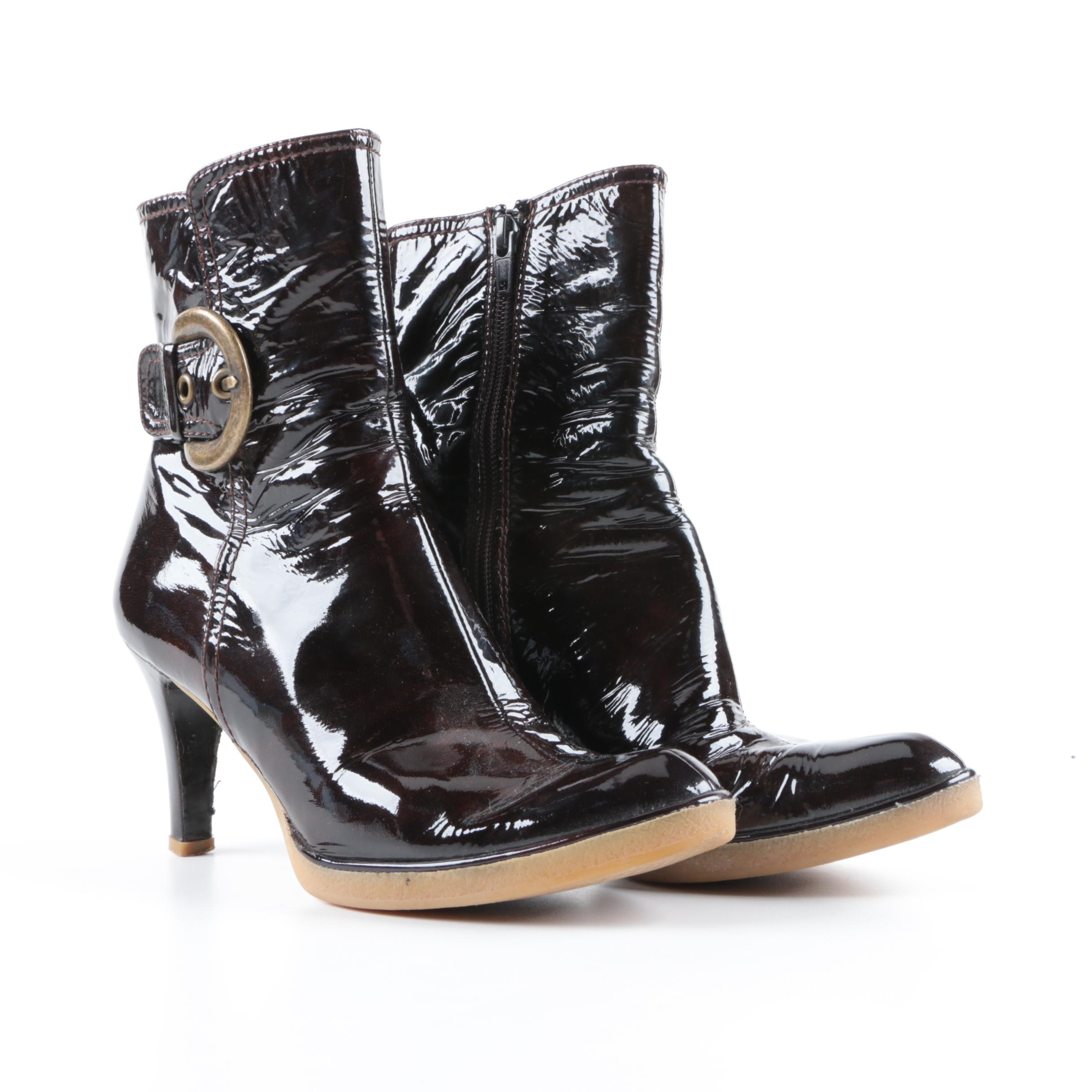 Stuart Weitzman Mahogany Patent Leather High Heeled Boots