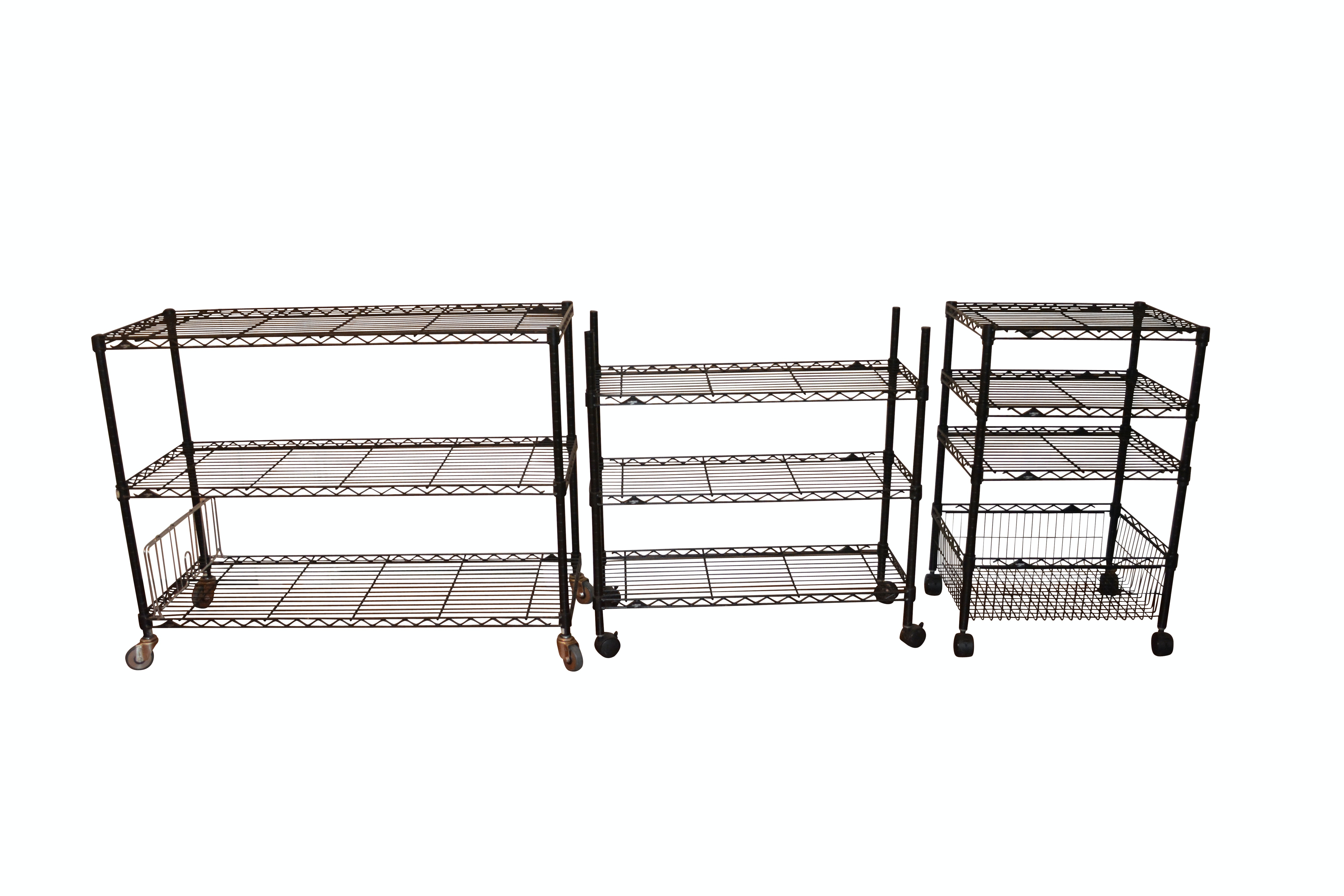 Three Black InterMetro Rolling Shelving and Cart
