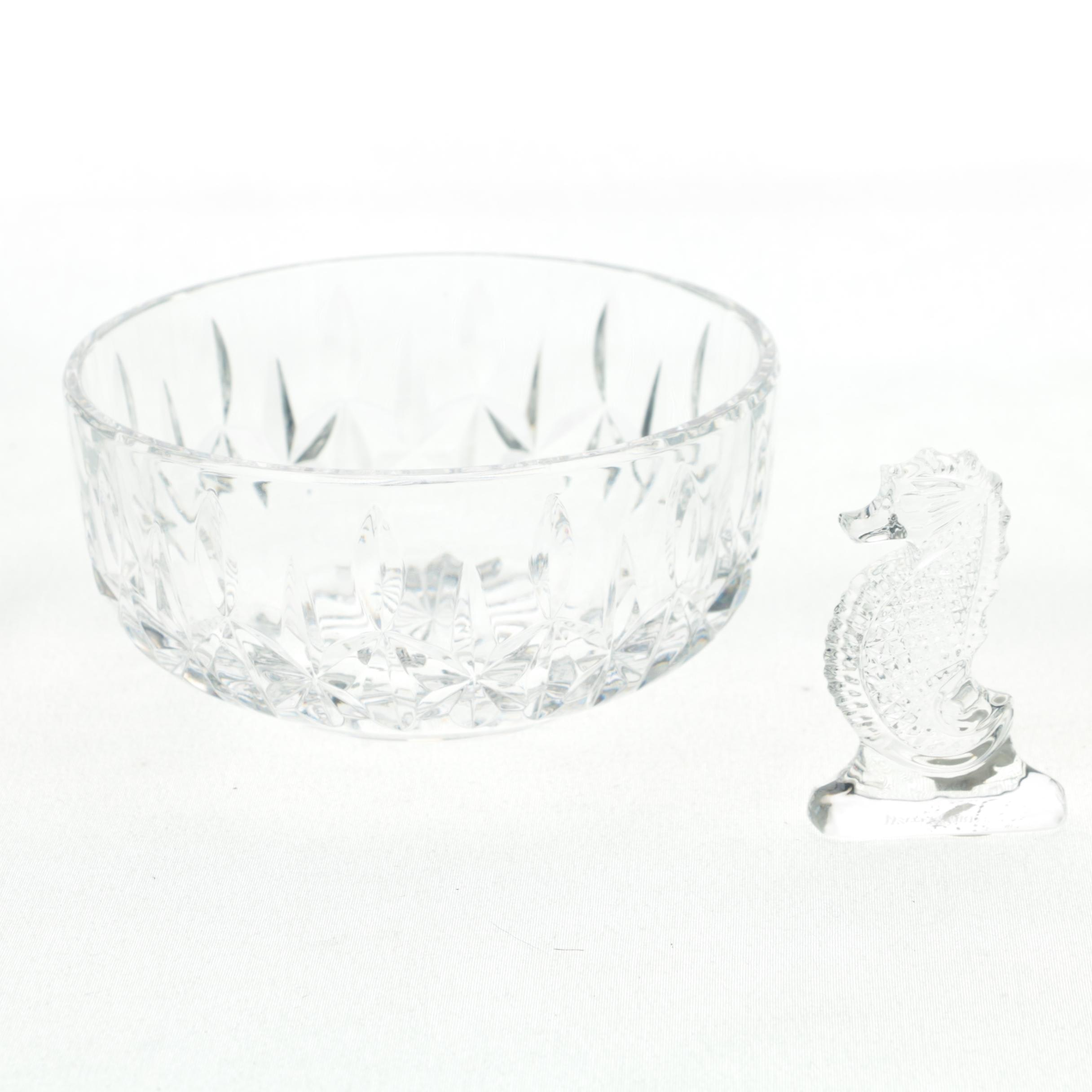 "Waterford Crystal ""Carlow"" Bowl and Seahorse Figurine"
