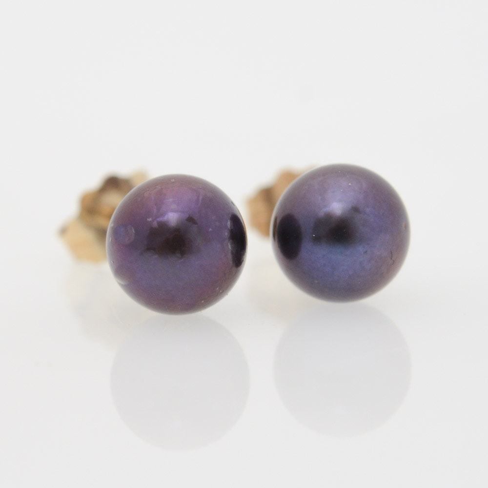 14K Yellow Gold Post Cultured Pearl Stud Earrings