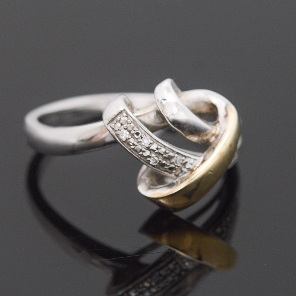 Sterling Silver 10K Yellow Gold Accented Diamond Ring