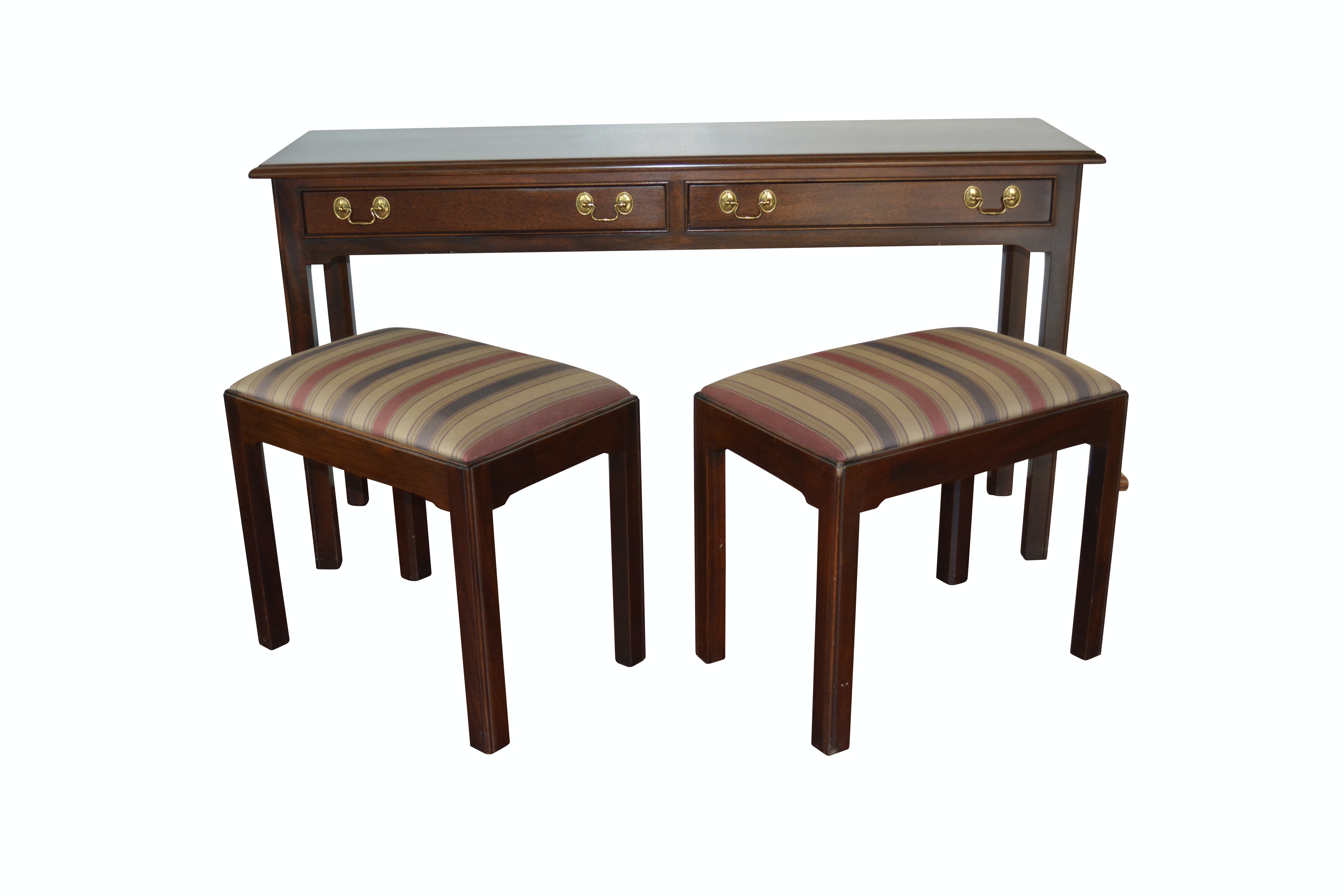 Stickley Federal Style Sofa Table with Stickley Stools