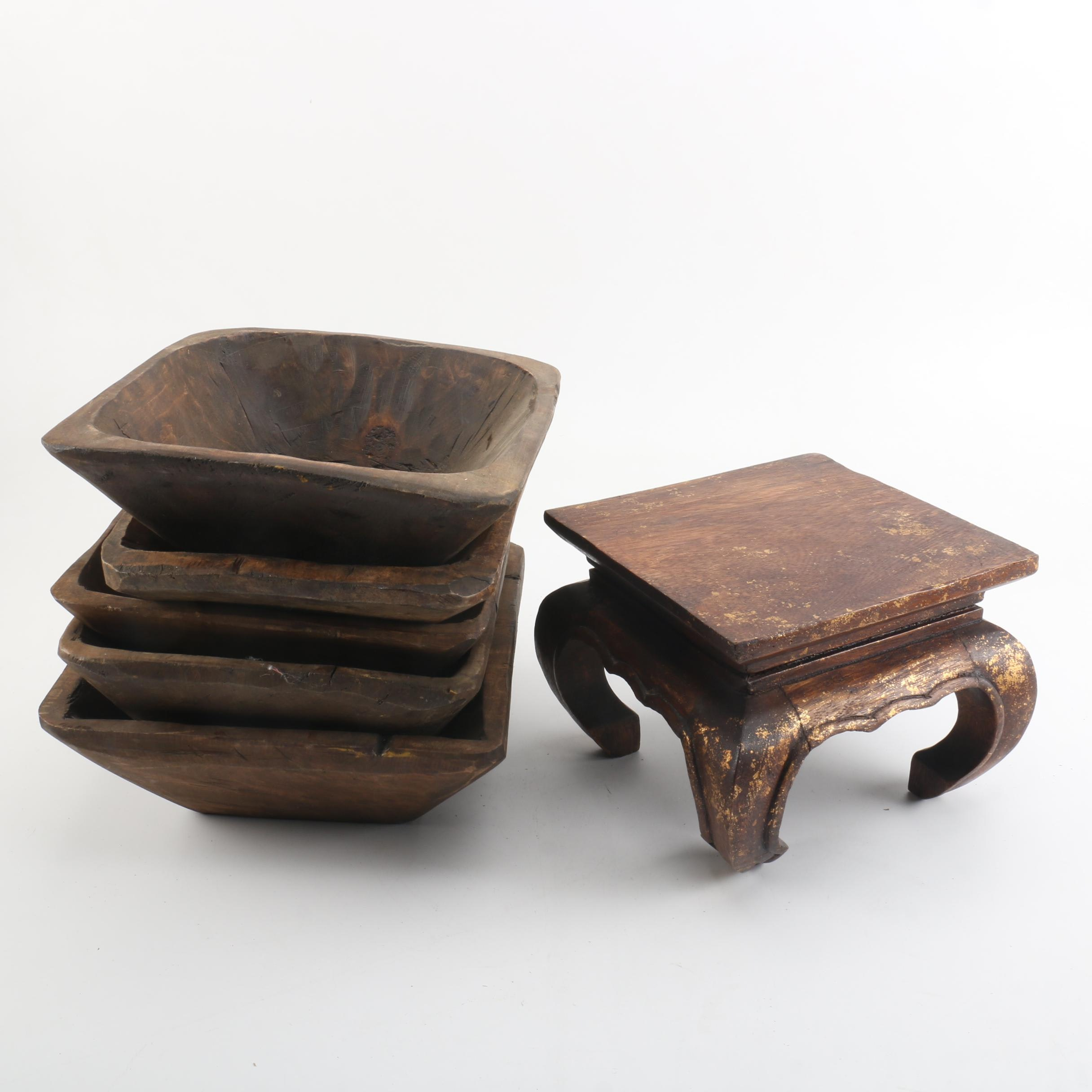 Antique Treenware Trenchers and Footstool