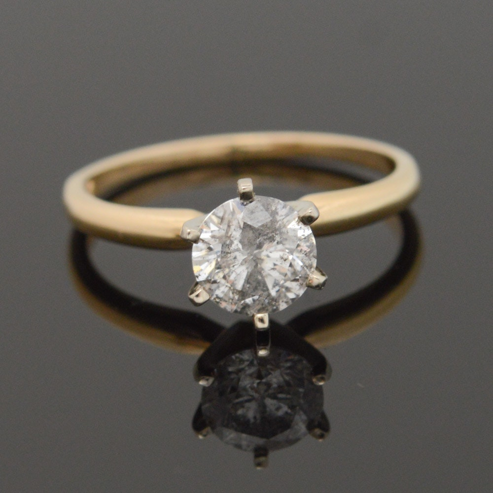 14K Yellow Gold 1.07 CT Diamond Solitaire Engagement Ring