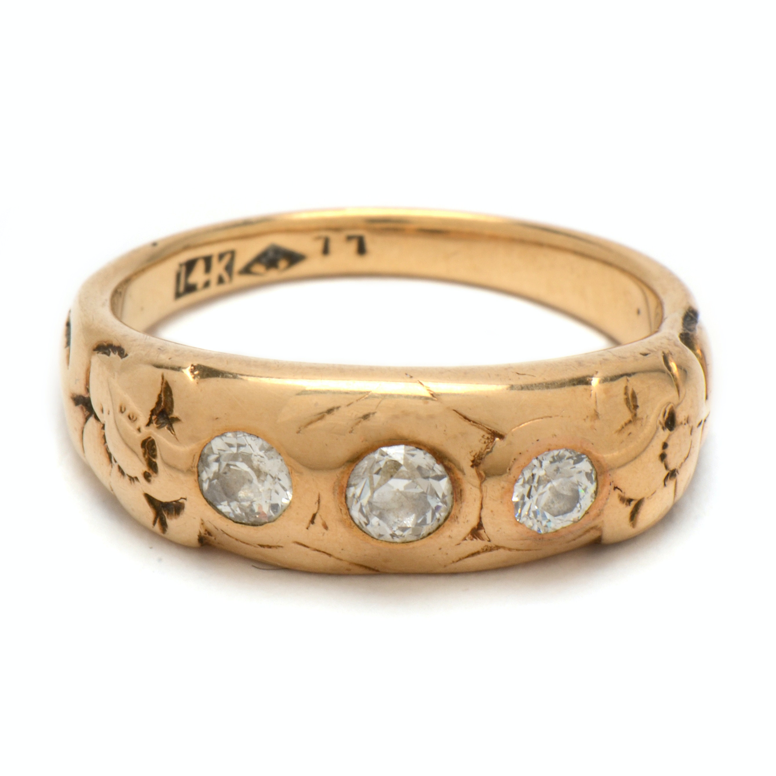 Early 20th Century 14K Yellow Gold Diamond Floral Ring