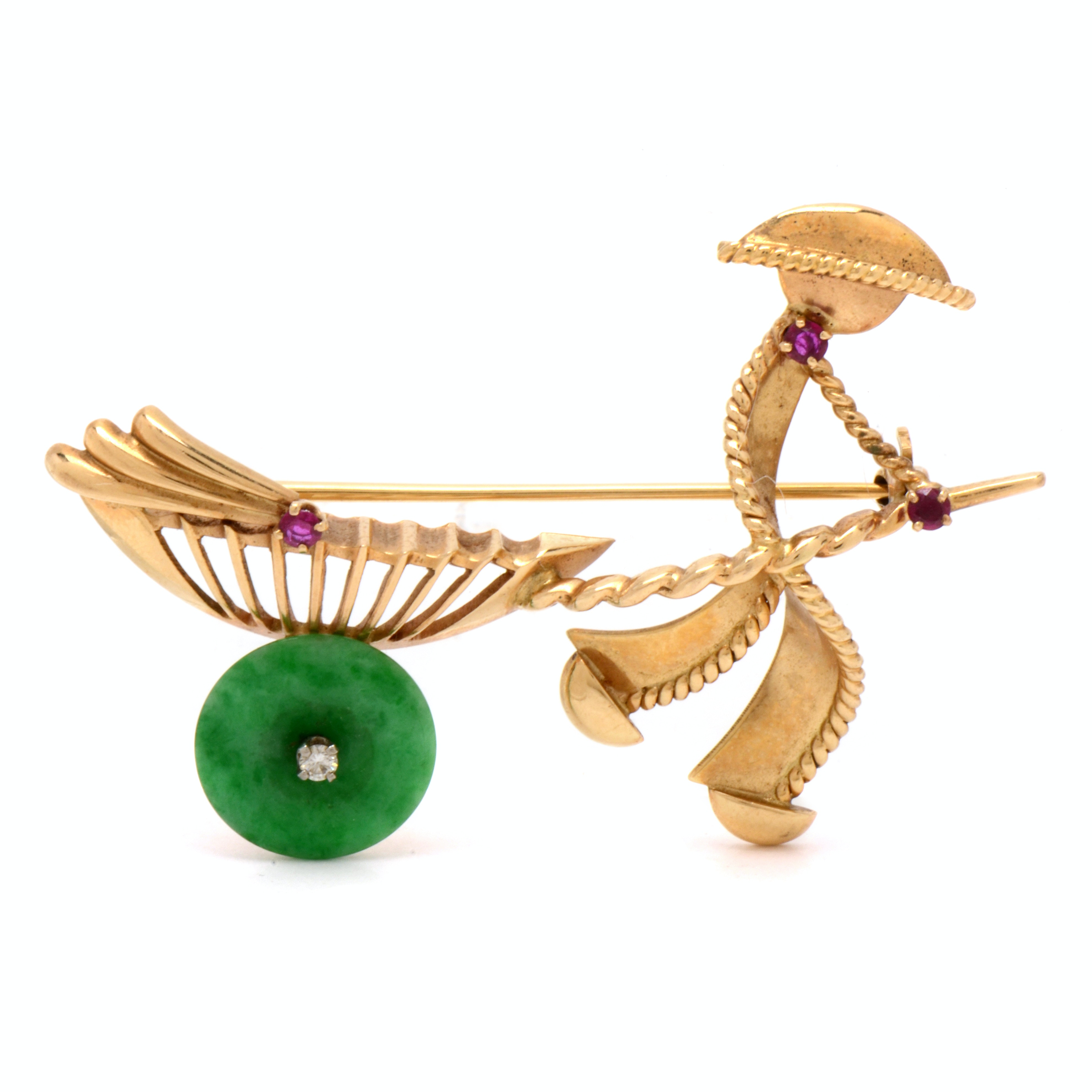14K Yellow Gold Figural Brooch with Stone Embellishments