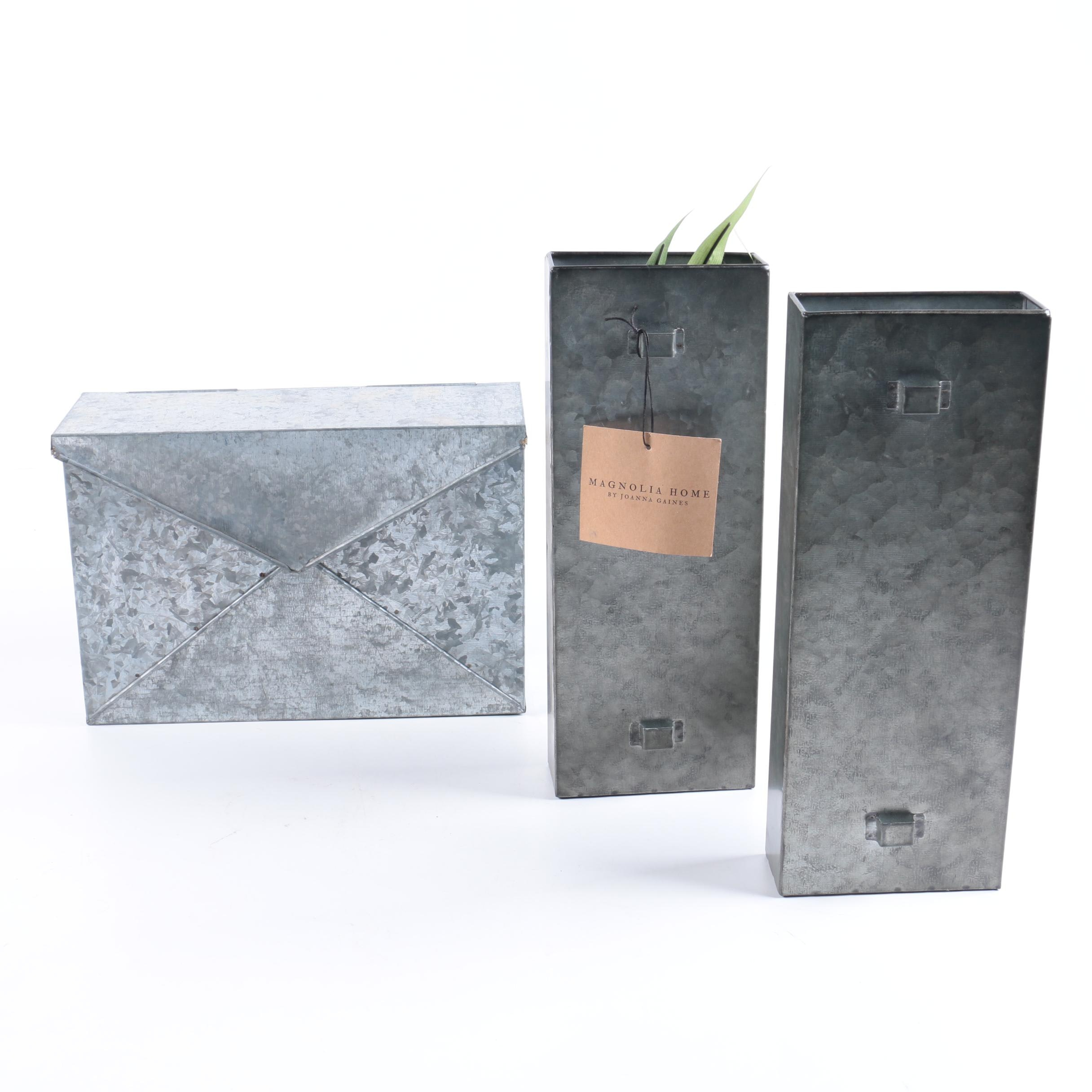 Metal Mailbox and Wall Planters